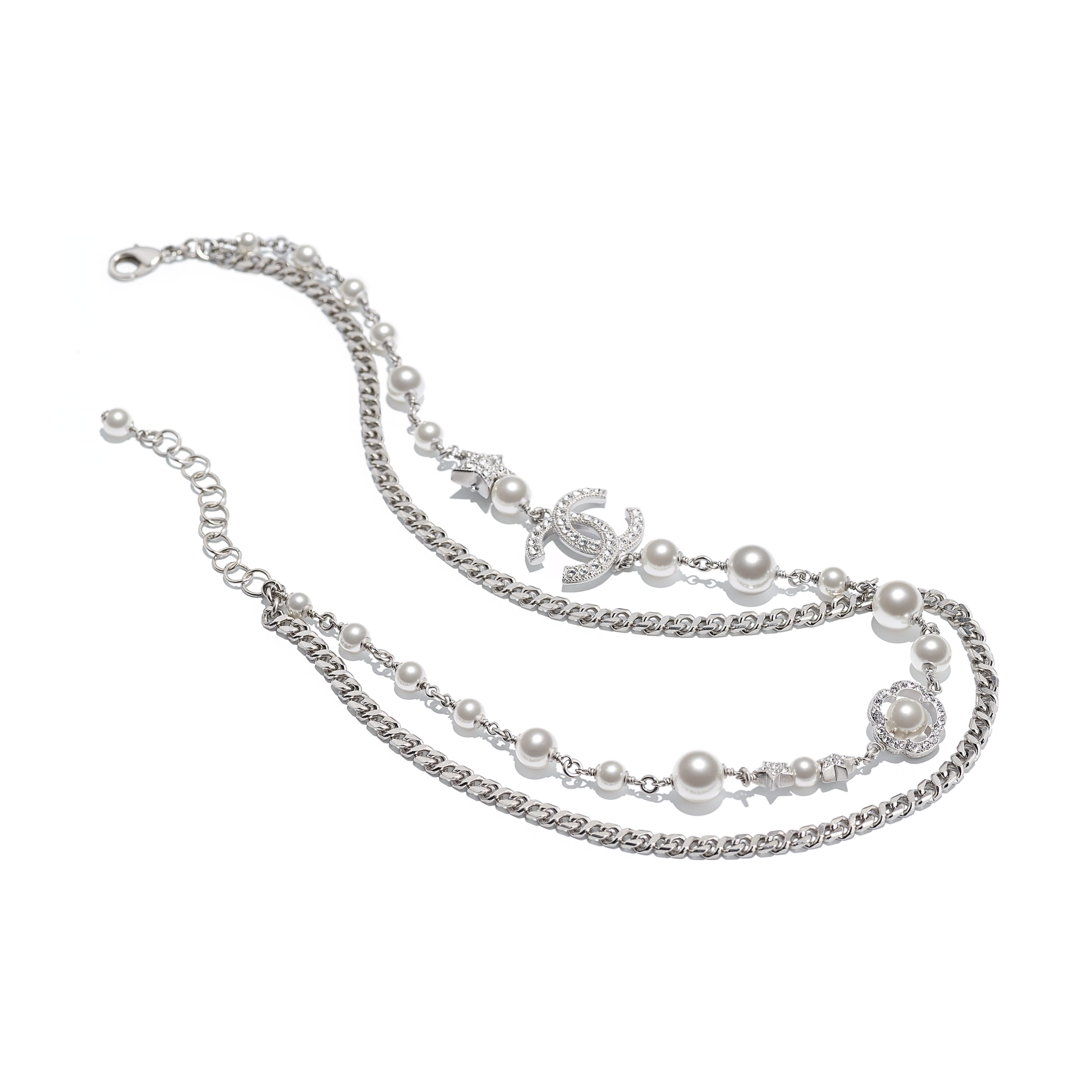 Necklace - Silver, Pearly White & Crystal - Metal, Glass Pearls & Strass - CHANEL - Alternative view - see standard sized version