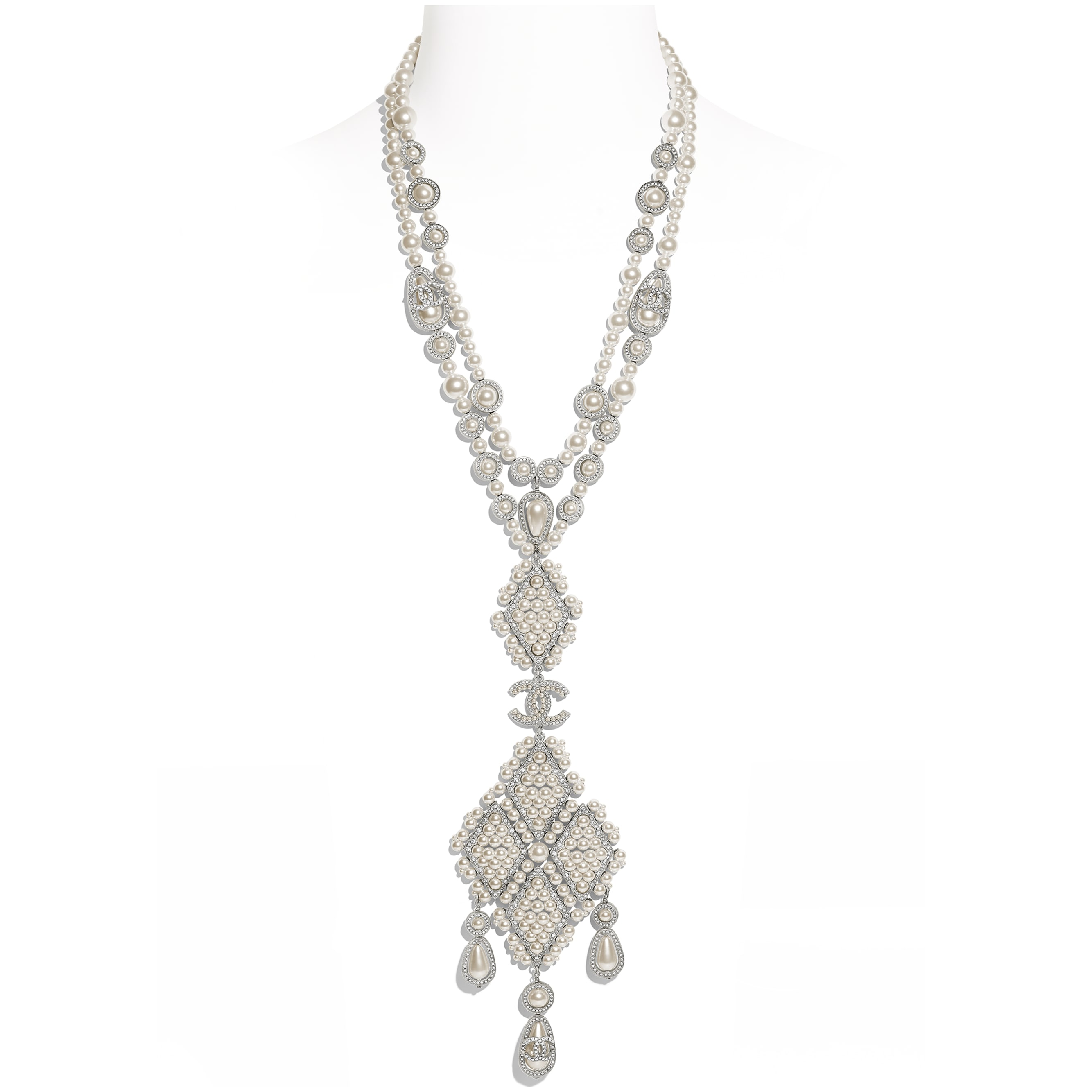 Necklace - Silver, Pearly White & Crystal - Metal, Glass Pearls & Diamantés - Default view - see standard sized version