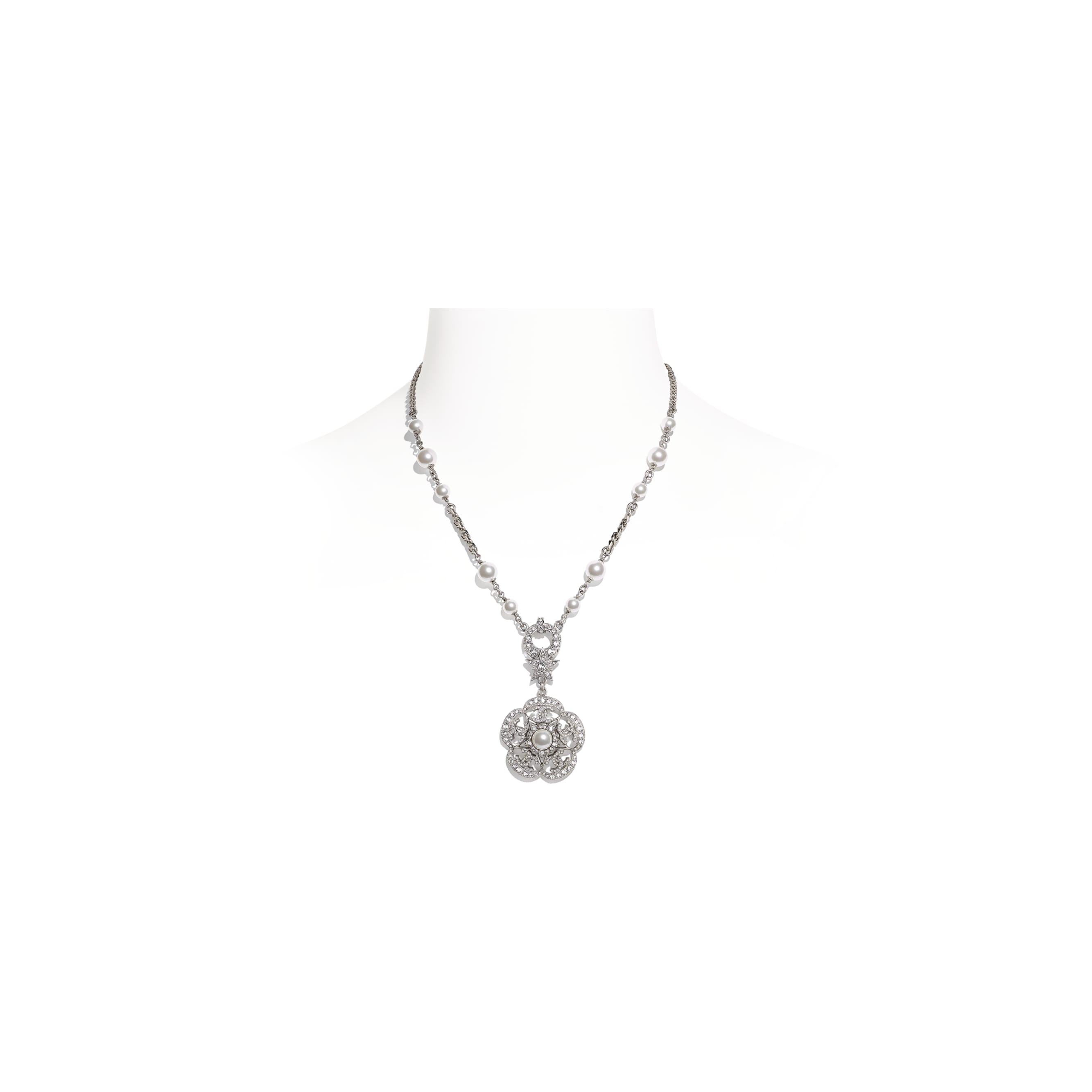 Necklace - Silver, Pearly White & Crystal - Metal, Glass Pearls & Diamantés - CHANEL - Default view - see standard sized version