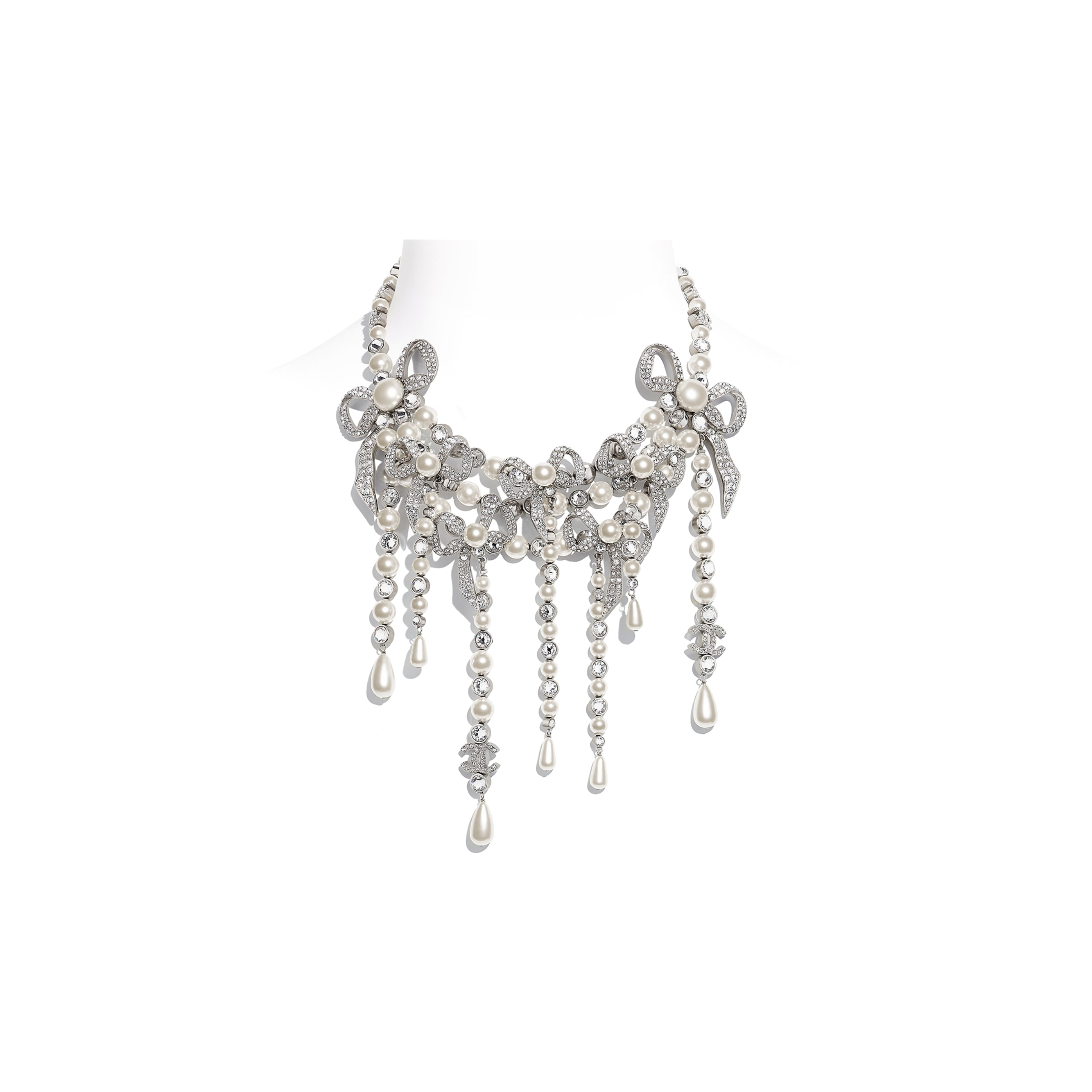 Necklace - Silver, Pearly White & Crystal - Metal, Glass Pearls & Strass - CHANEL - Default view - see standard sized version