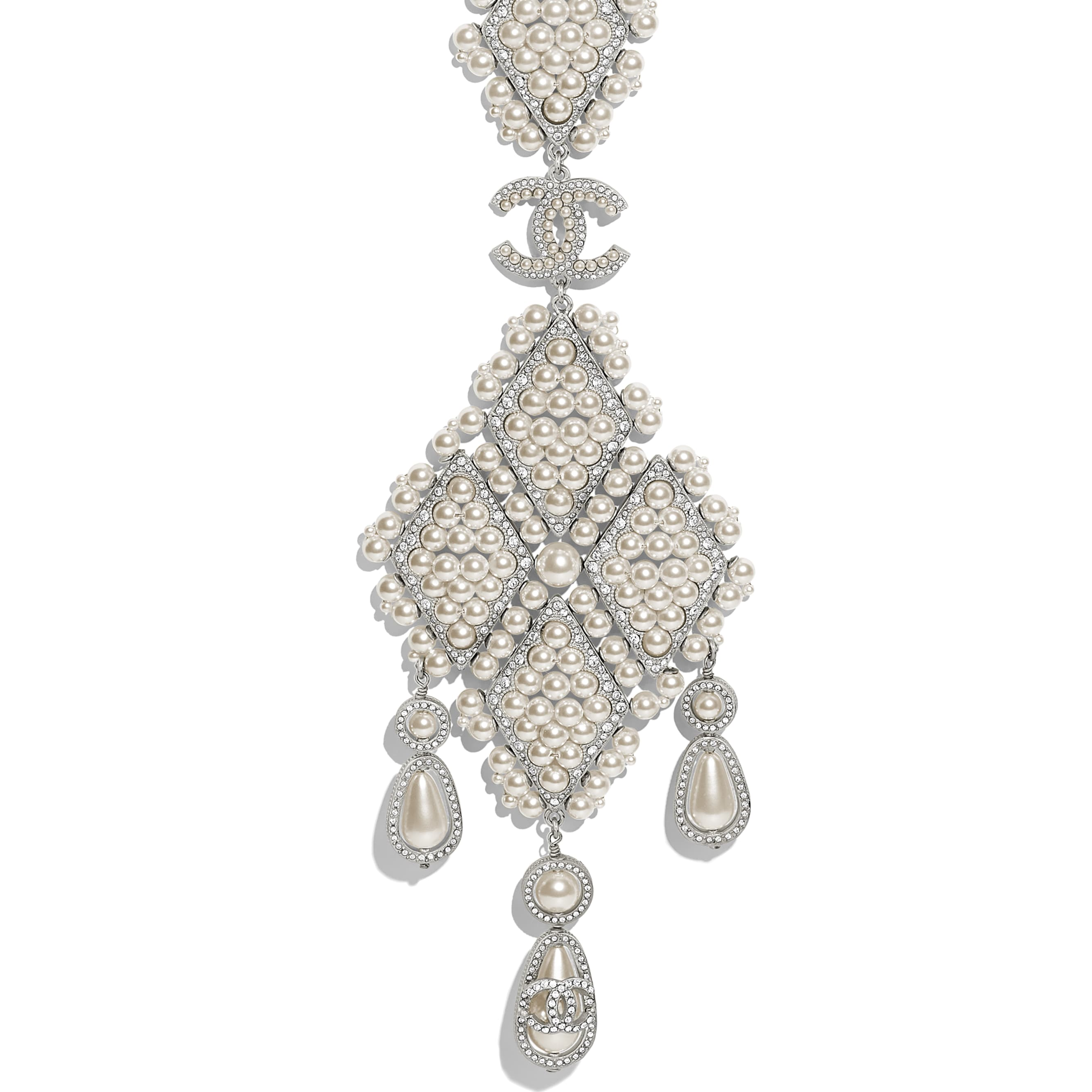 Necklace - Silver, Pearly White & Crystal - Metal, Glass Pearls & Diamantés - Other view - see standard sized version