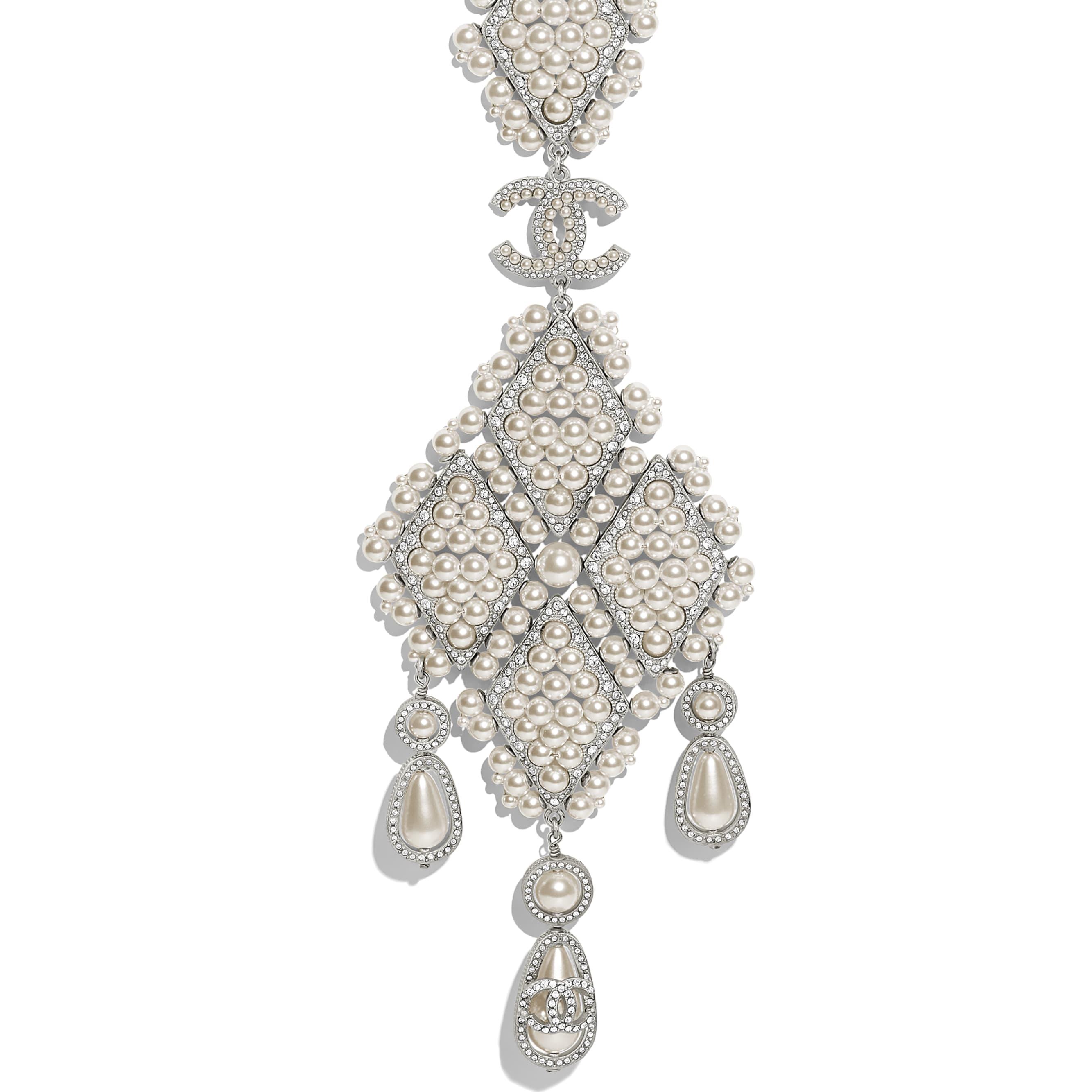 Halskette - Silberfarben, Perlmuttweiß & Kristall - Metall, Glasperlen & Strass - Weitere Ansicht - Standardgröße anzeigen
