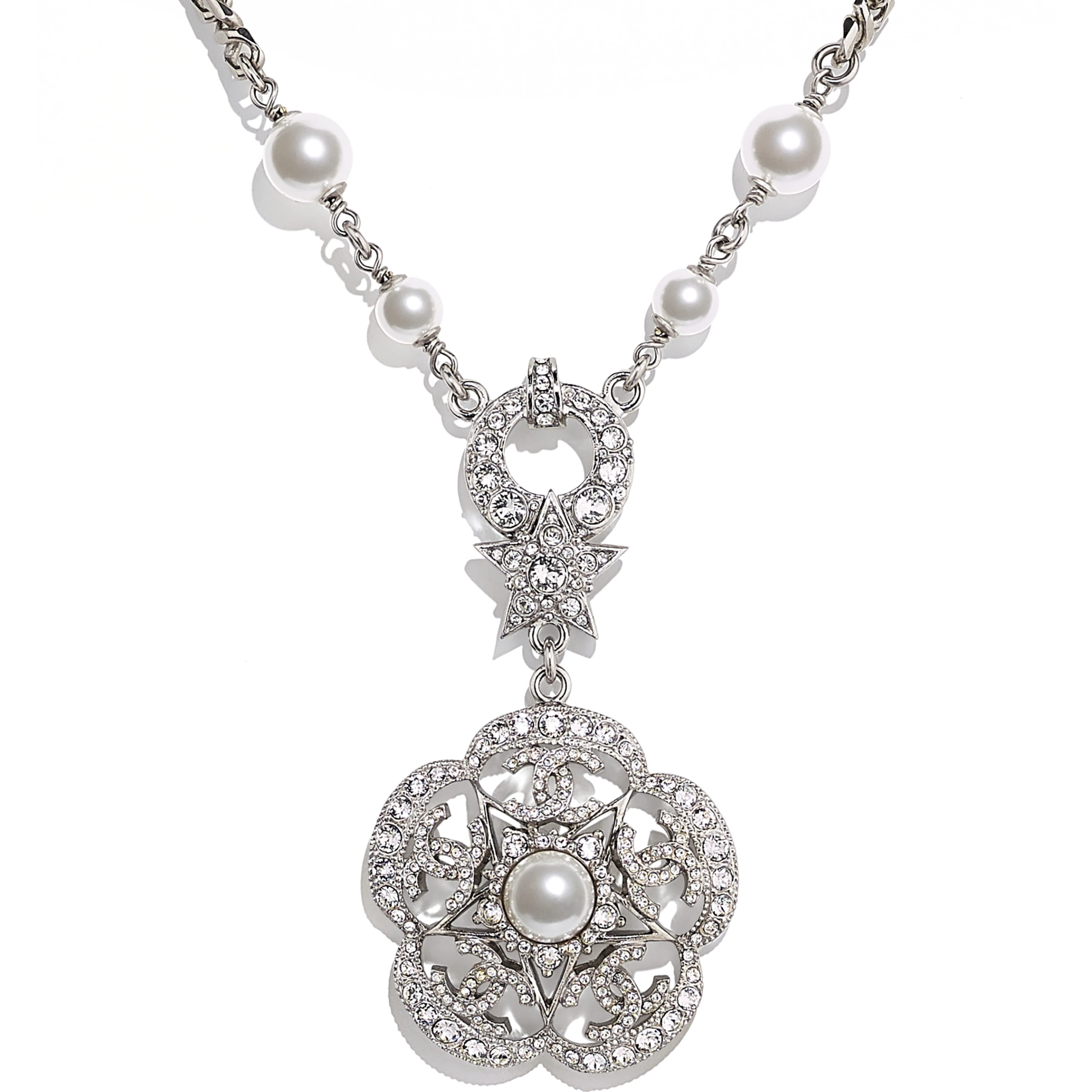Necklace - Silver, Pearly White & Crystal - Metal, Glass Pearls & Diamantés - CHANEL - Other view - see standard sized version