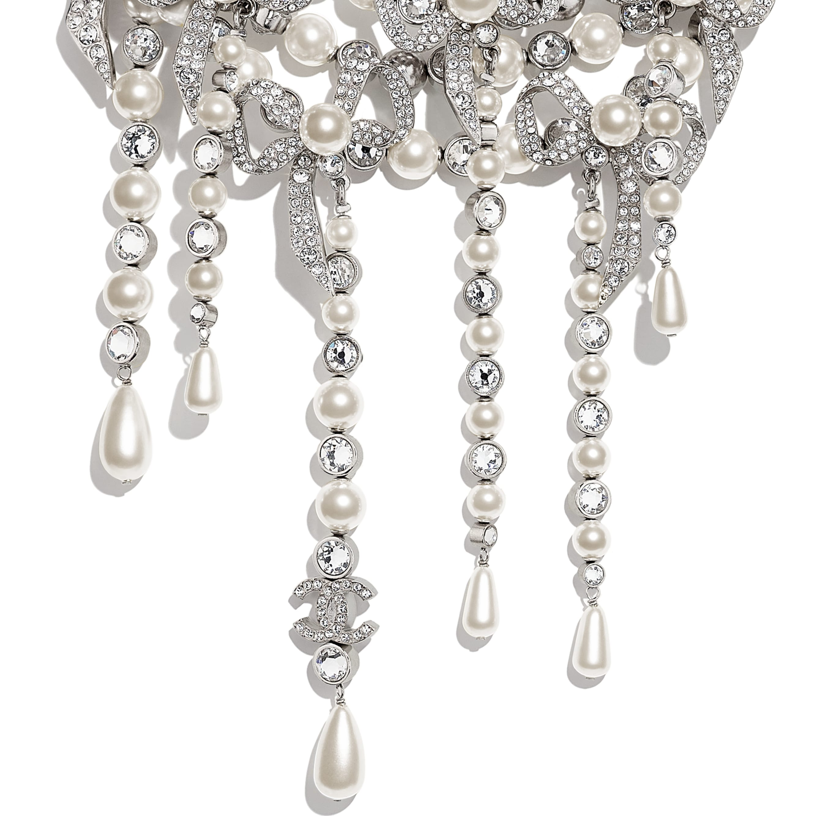 Necklace - Silver, Pearly White & Crystal - Metal, Glass Pearls & Strass - CHANEL - Other view - see standard sized version