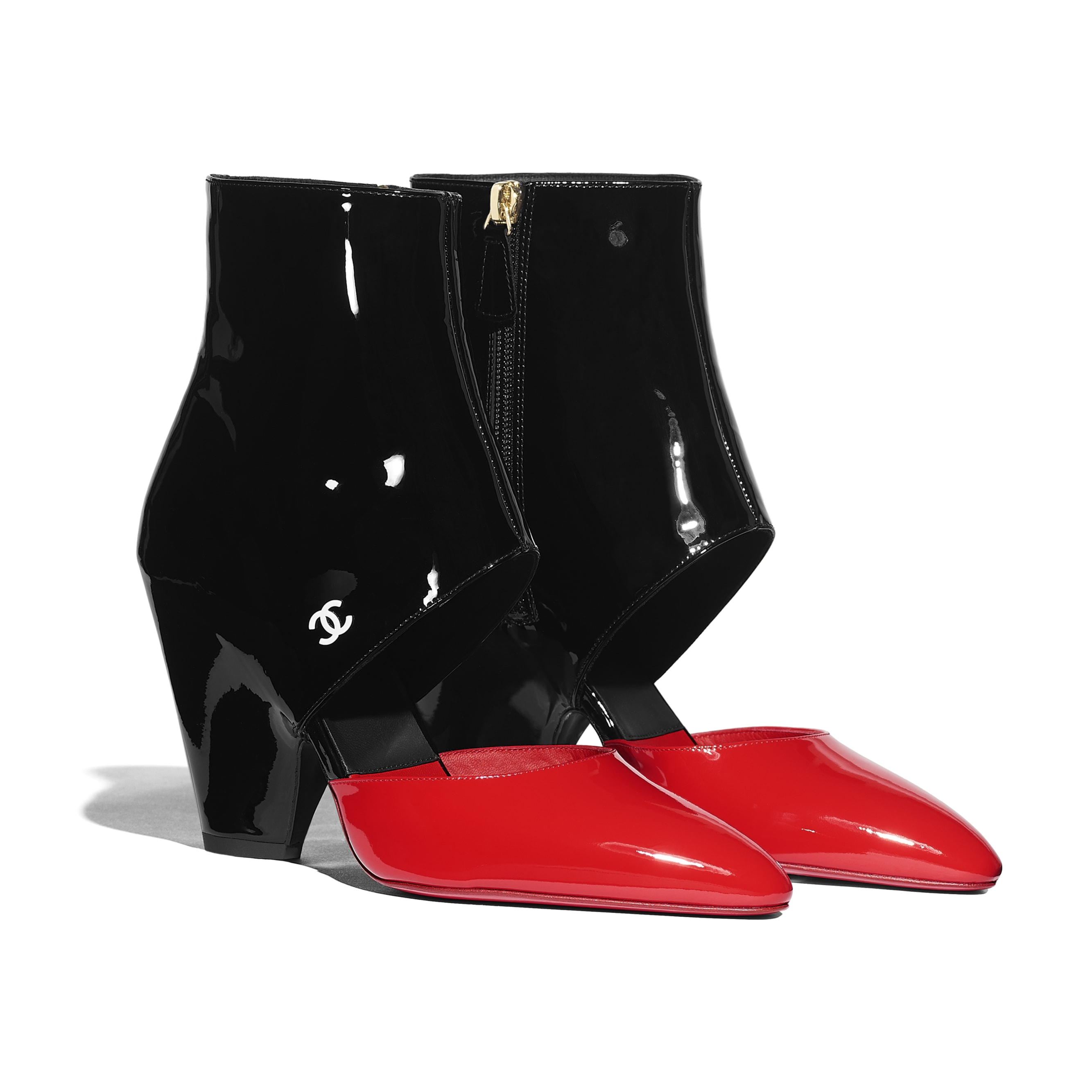Open Ankle Boots - Red & Black - Patent Calfskin - CHANEL - Alternative view - see standard sized version