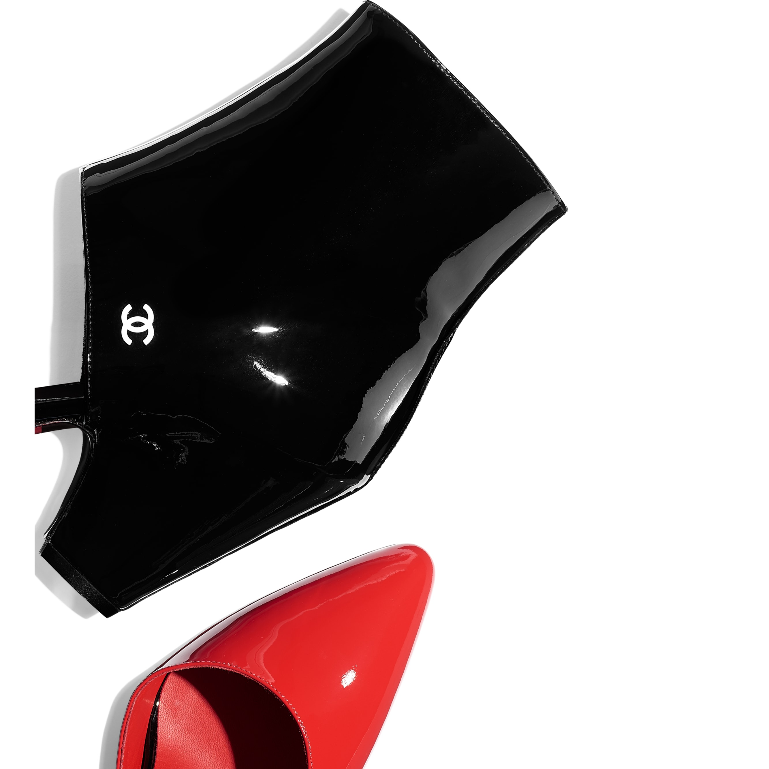 Open Ankle Boots - Red & Black - Patent Calfskin - CHANEL - Extra view - see standard sized version