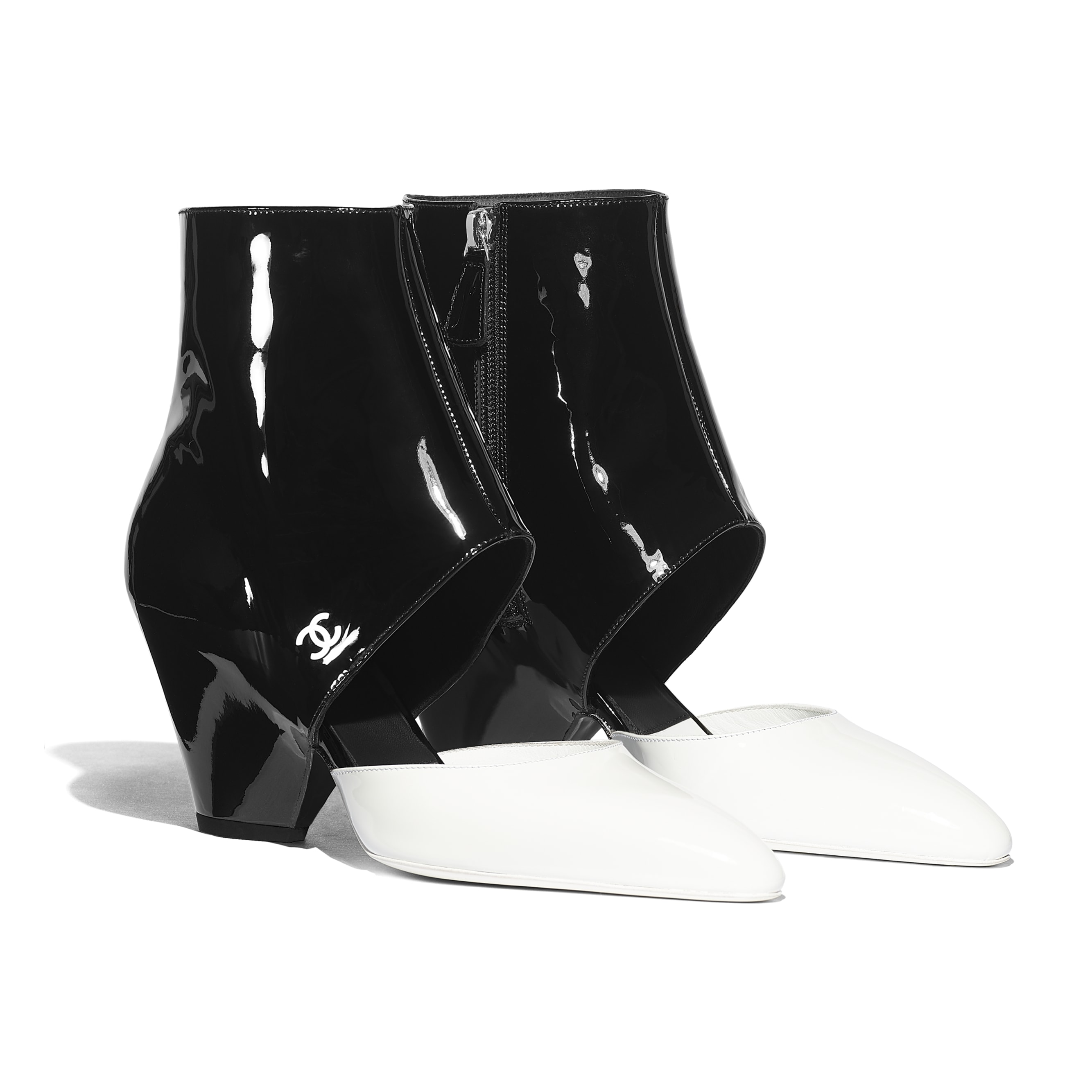 Open Ankle Boots - White & Black - Patent Calfskin - Alternative view - see standard sized version