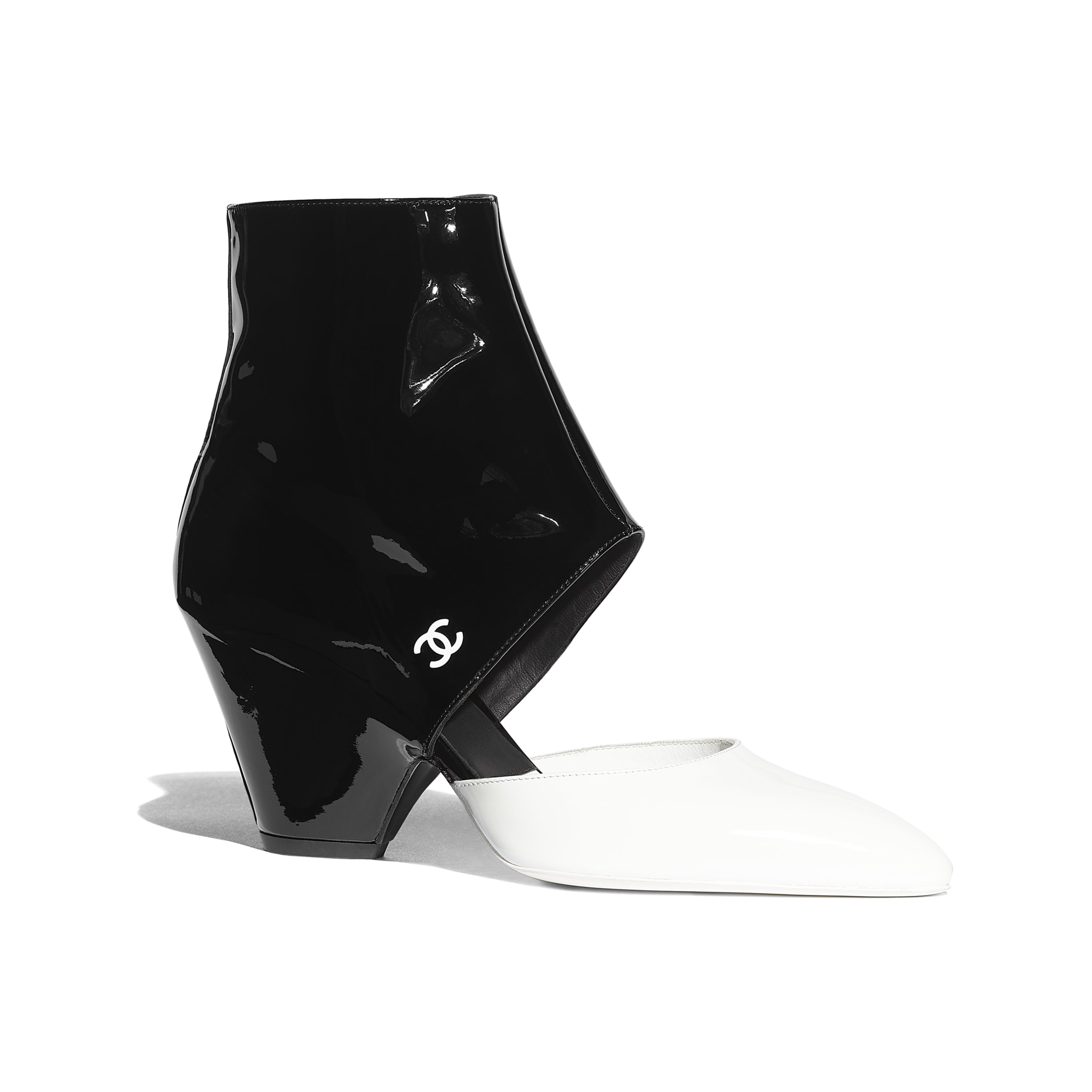 Open Ankle Boots - White & Black - Patent Calfskin - Default view - see standard sized version
