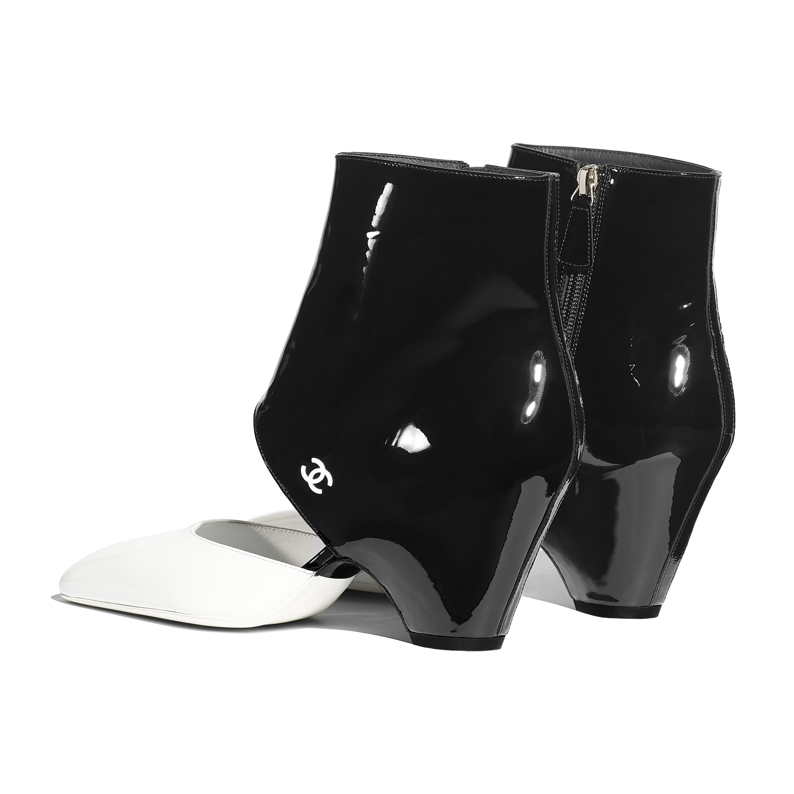 Open Ankle Boots - White & Black - Patent Calfskin - Other view - see standard sized version