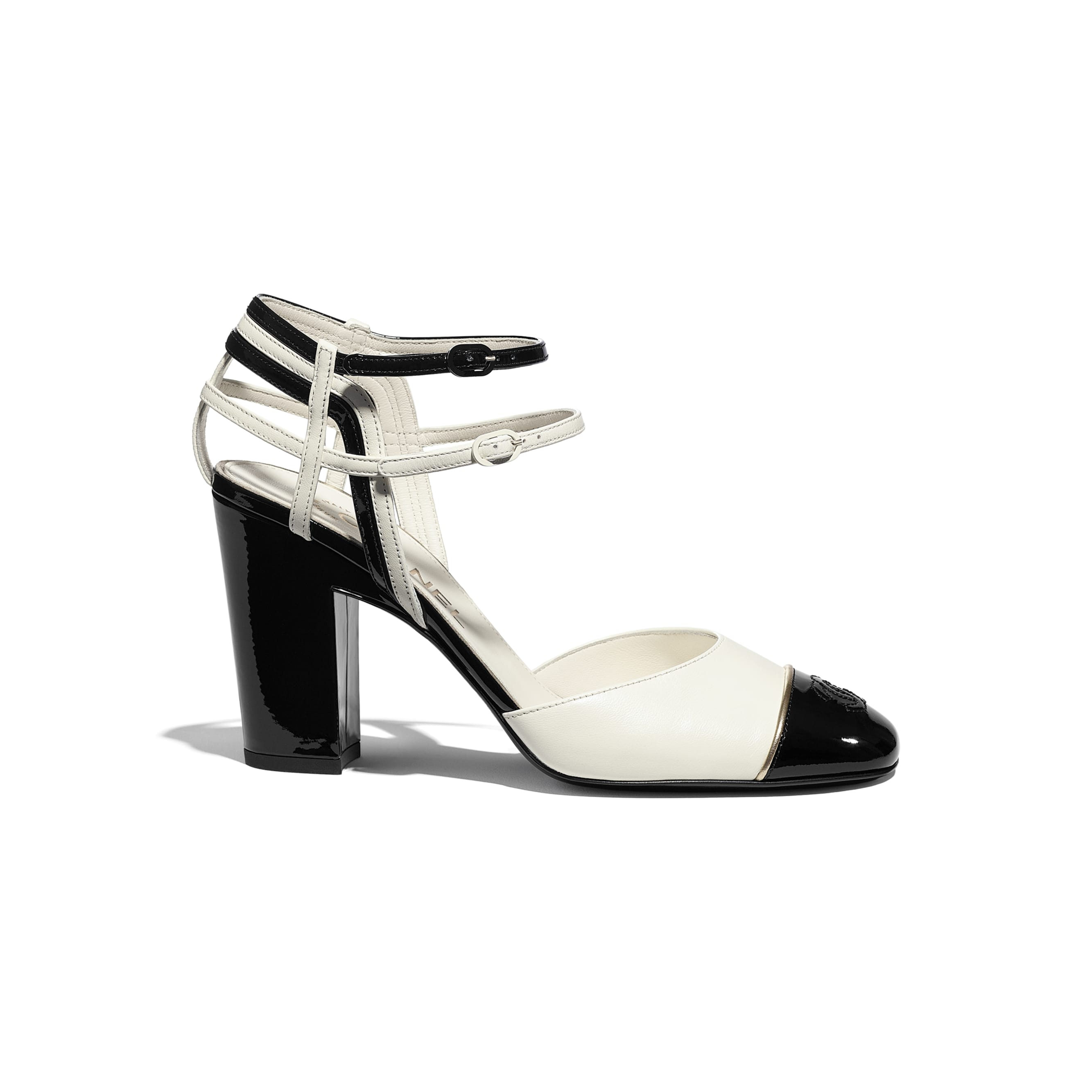 Open Shoes - Ivory & Black - Lambskin & Patent Calfskin - CHANEL - Default view - see standard sized version