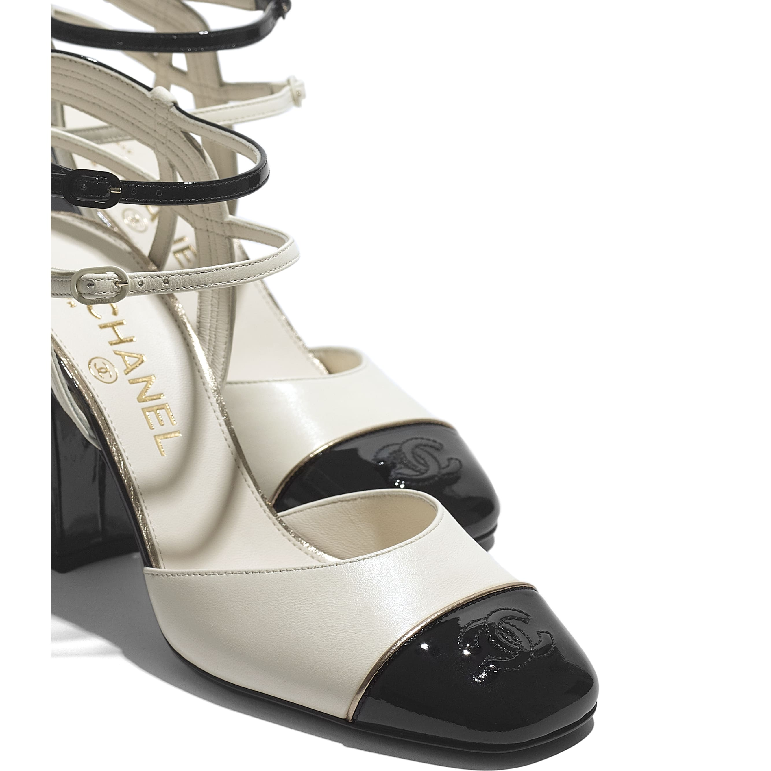 Open Shoes - Ivory & Black - Lambskin & Patent Calfskin - CHANEL - Extra view - see standard sized version