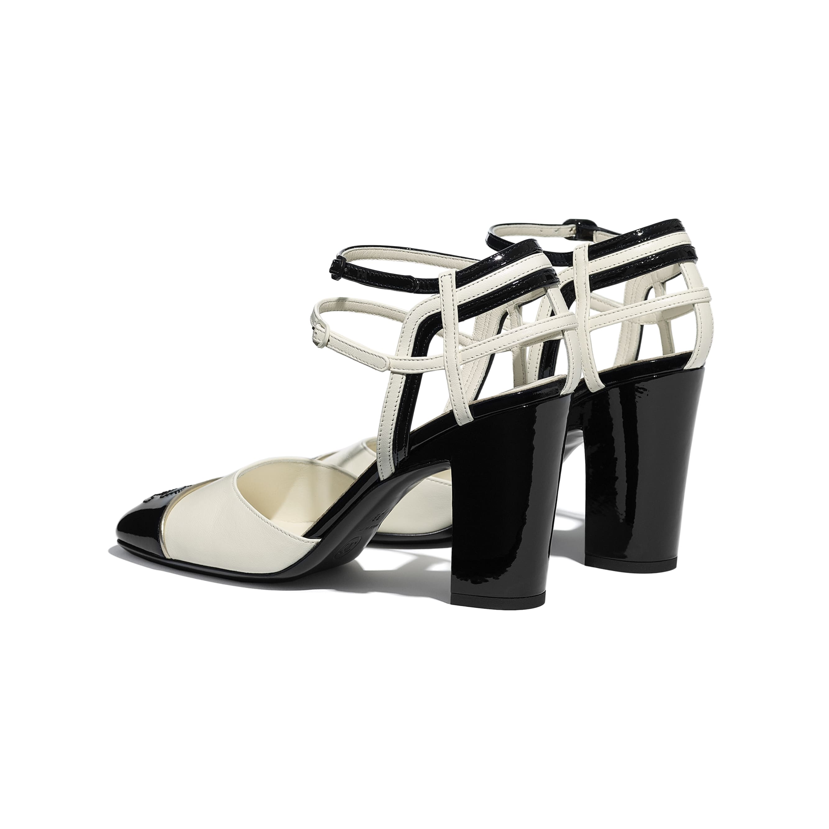 Open Shoes - Ivory & Black - Lambskin & Patent Calfskin - CHANEL - Other view - see standard sized version