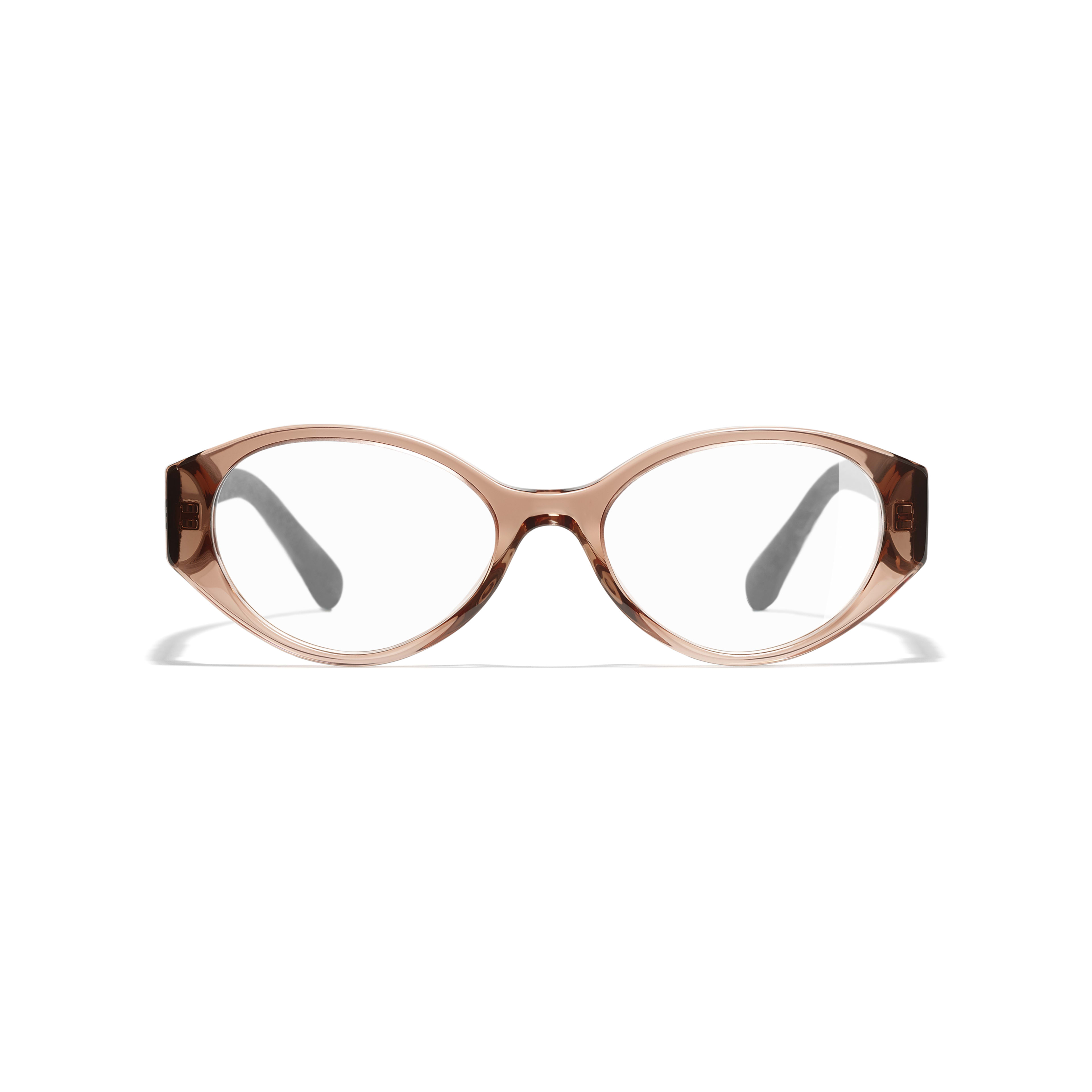 Oval Eyeglasses - Brown & Grey - Acetate & Denim - Alternative view - see standard sized version