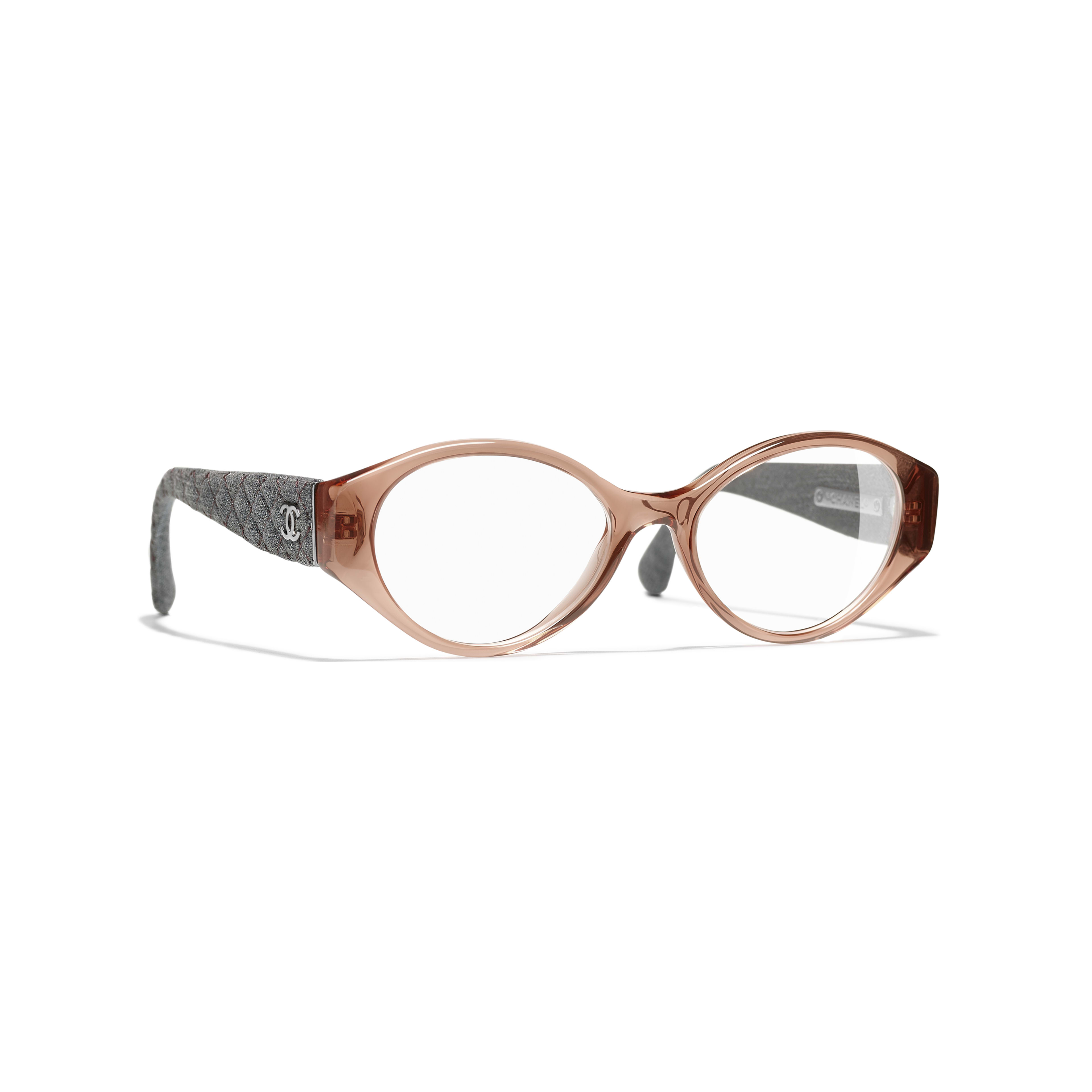 Oval Eyeglasses - Brown & Grey - Acetate & Denim - Default view - see standard sized version