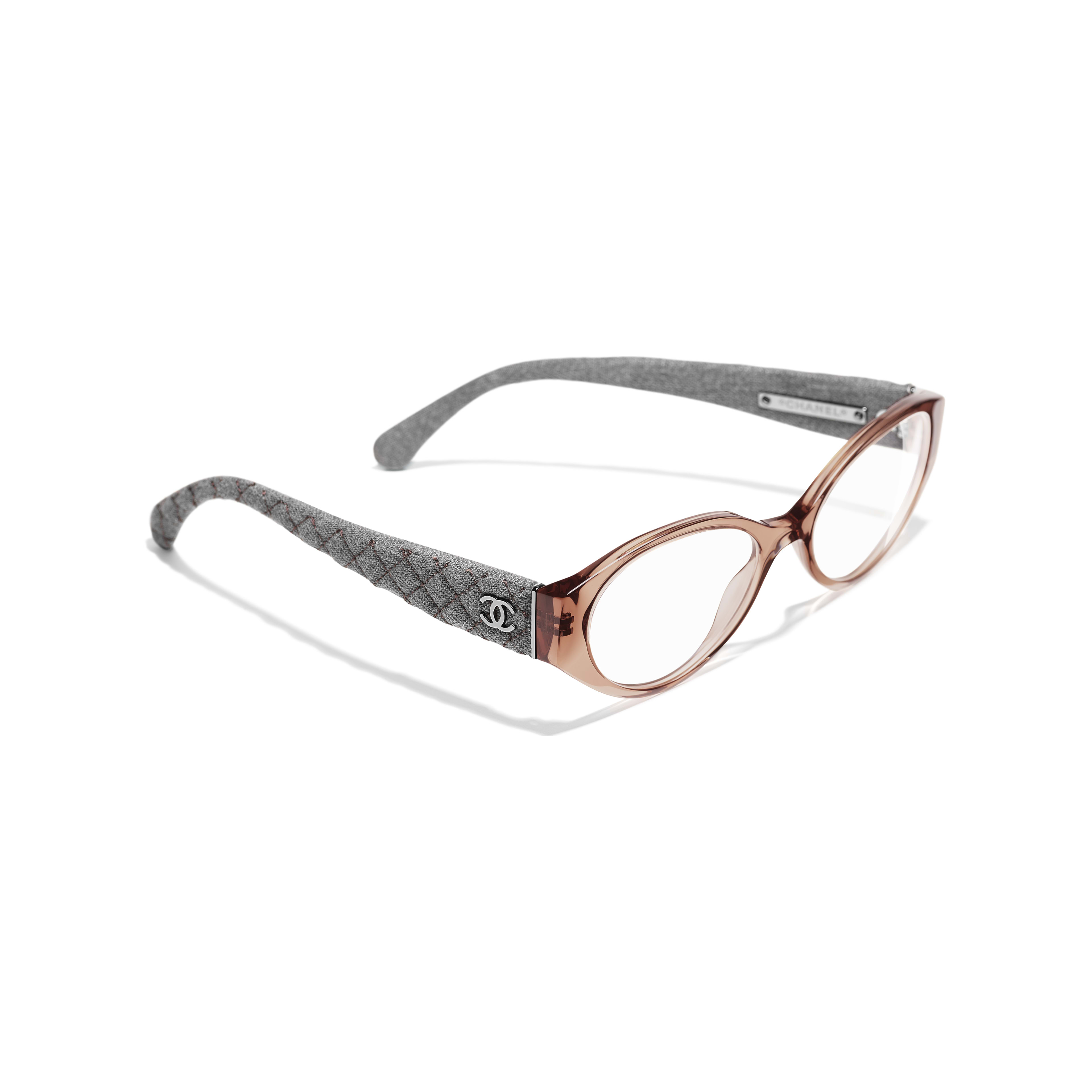 Oval Eyeglasses - Brown & Grey - Acetate & Denim - Extra view - see standard sized version