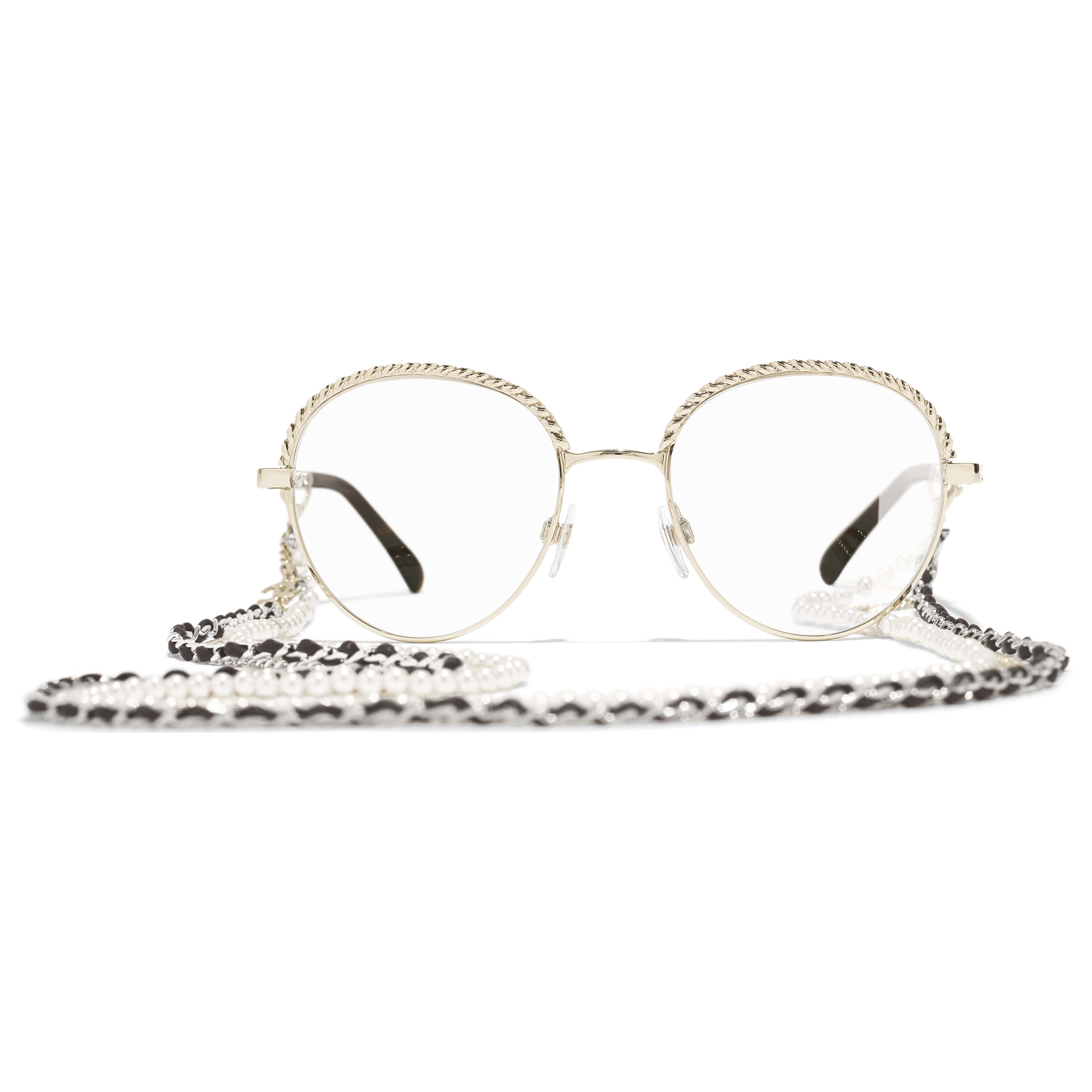 Pantos Eyeglasses - Gold - Metal, Calfskin & Imitation Pearls - CHANEL - Alternative view - see standard sized version