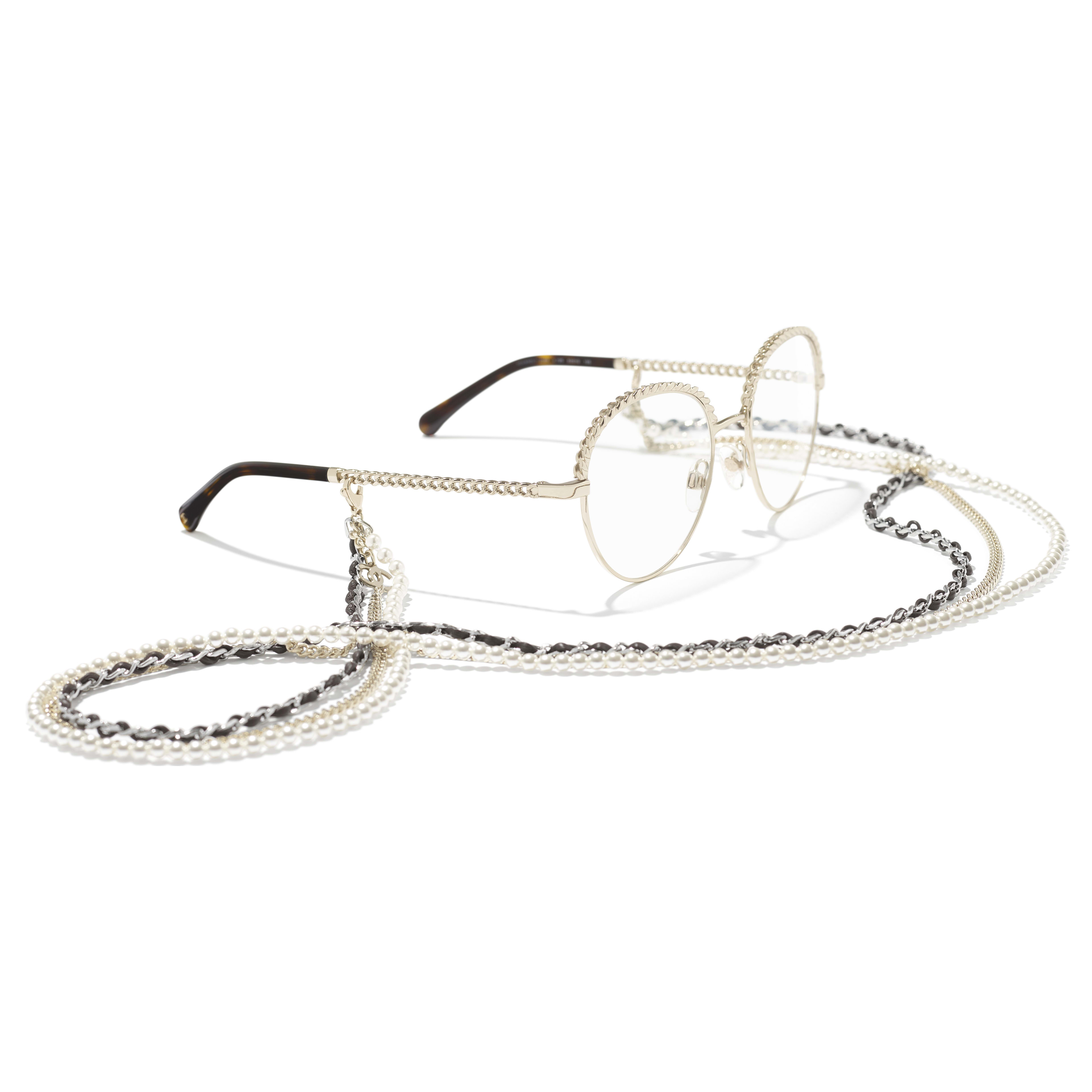Pantos Eyeglasses - Gold - Metal, Calfskin & Imitation Pearls - CHANEL - Extra view - see standard sized version
