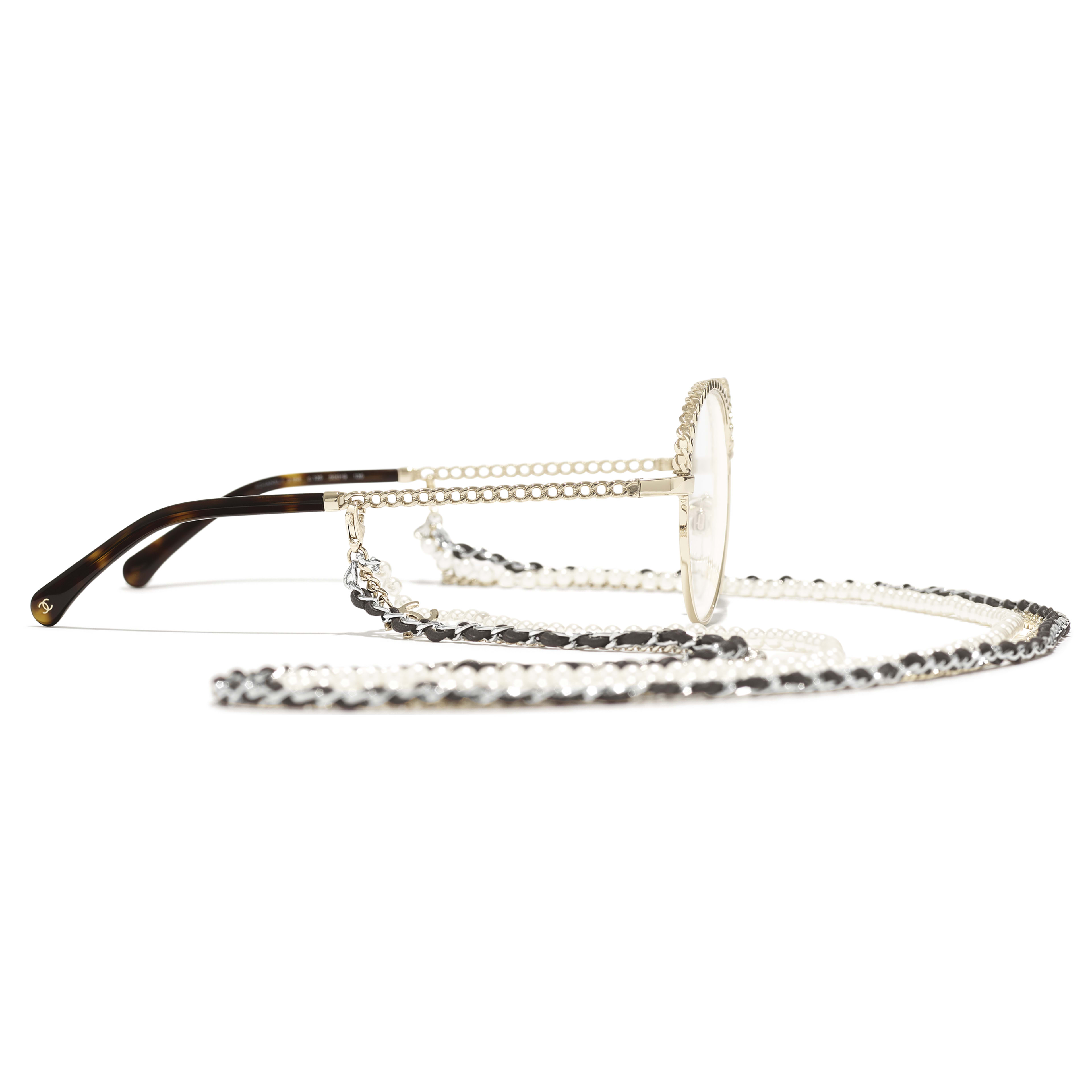 Pantos Eyeglasses - Gold - Metal, Calfskin & Imitation Pearls - CHANEL - Other view - see standard sized version