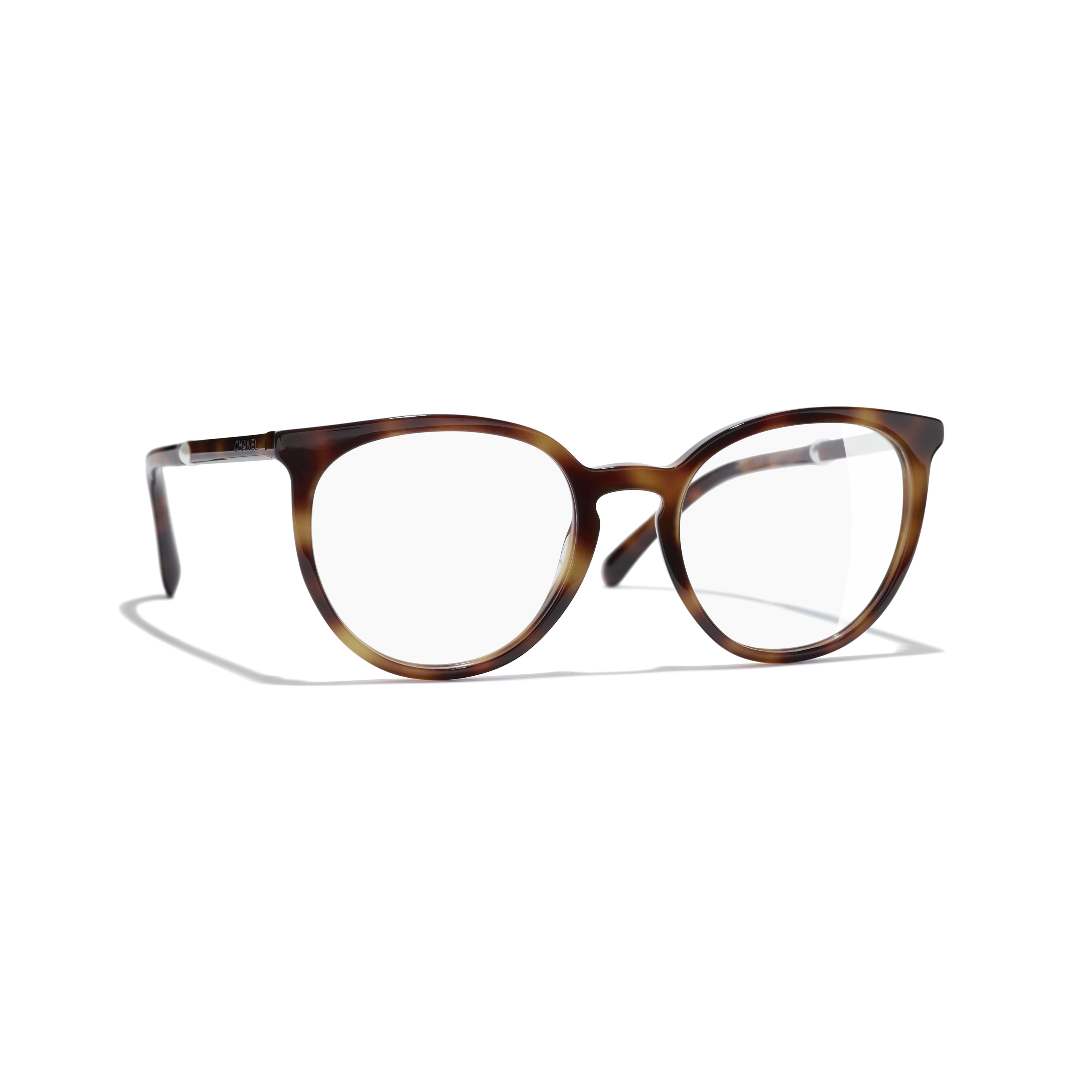 Pantos Eyeglasses - Light Tortoise - Acetate & Imitation Pearls - CHANEL - Default view - see standard sized version