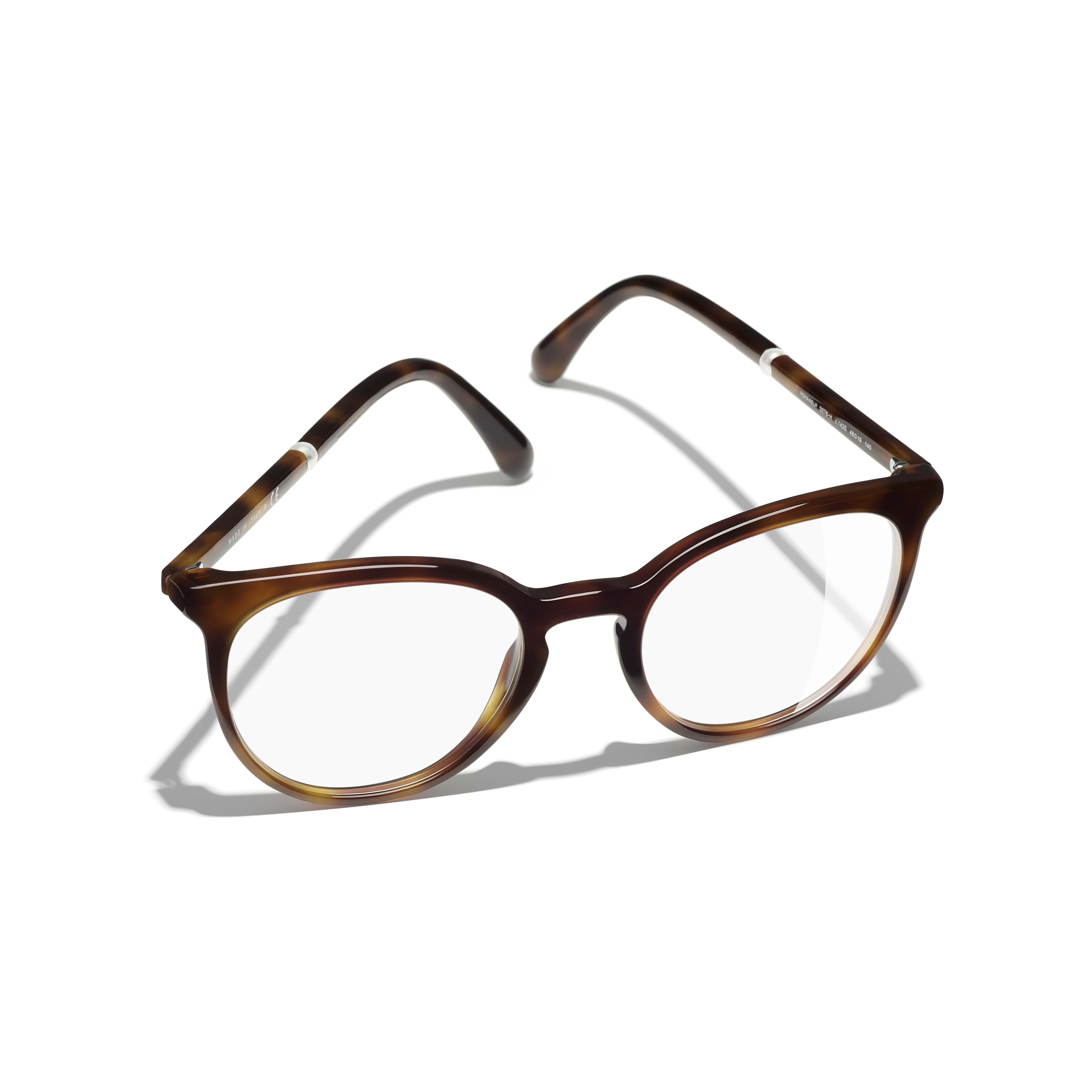 Pantos Eyeglasses - Light Tortoise - Acetate & Imitation Pearls - CHANEL - Extra view - see standard sized version
