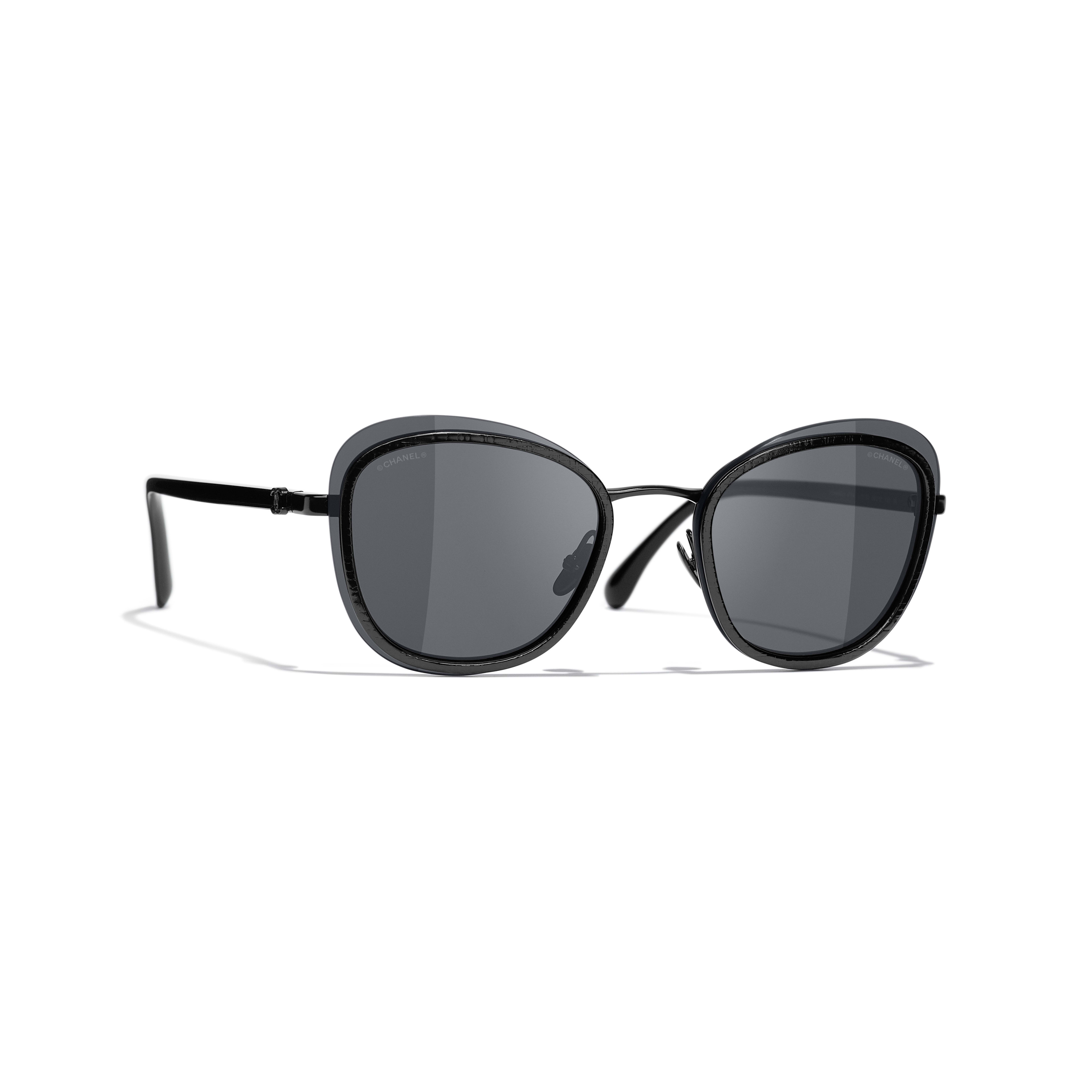 Pantos Sunglasses - Black - Acetate & Metal - CHANEL - Default view - see standard sized version