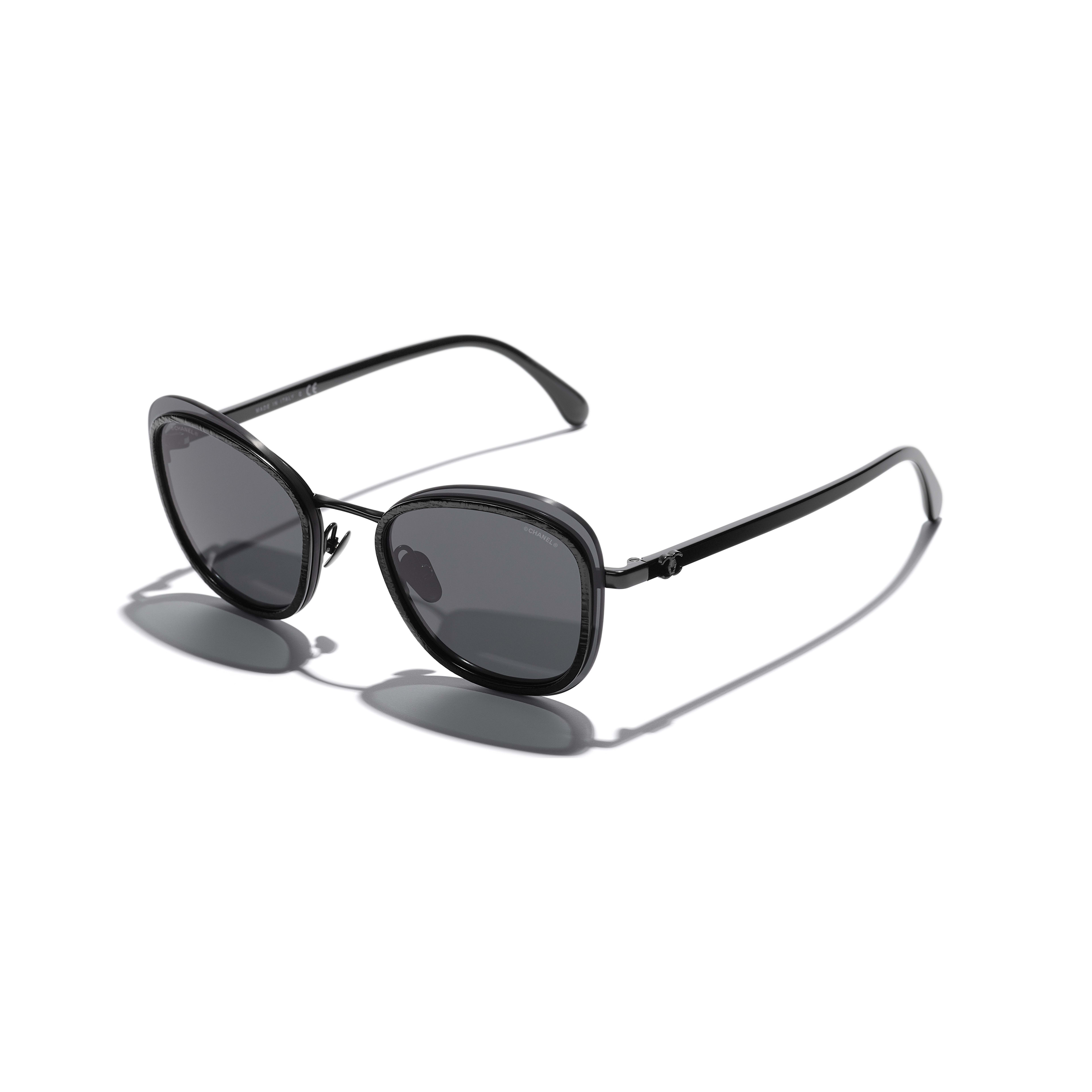 Pantos Sunglasses - Black - Acetate & Metal - CHANEL - Extra view - see standard sized version