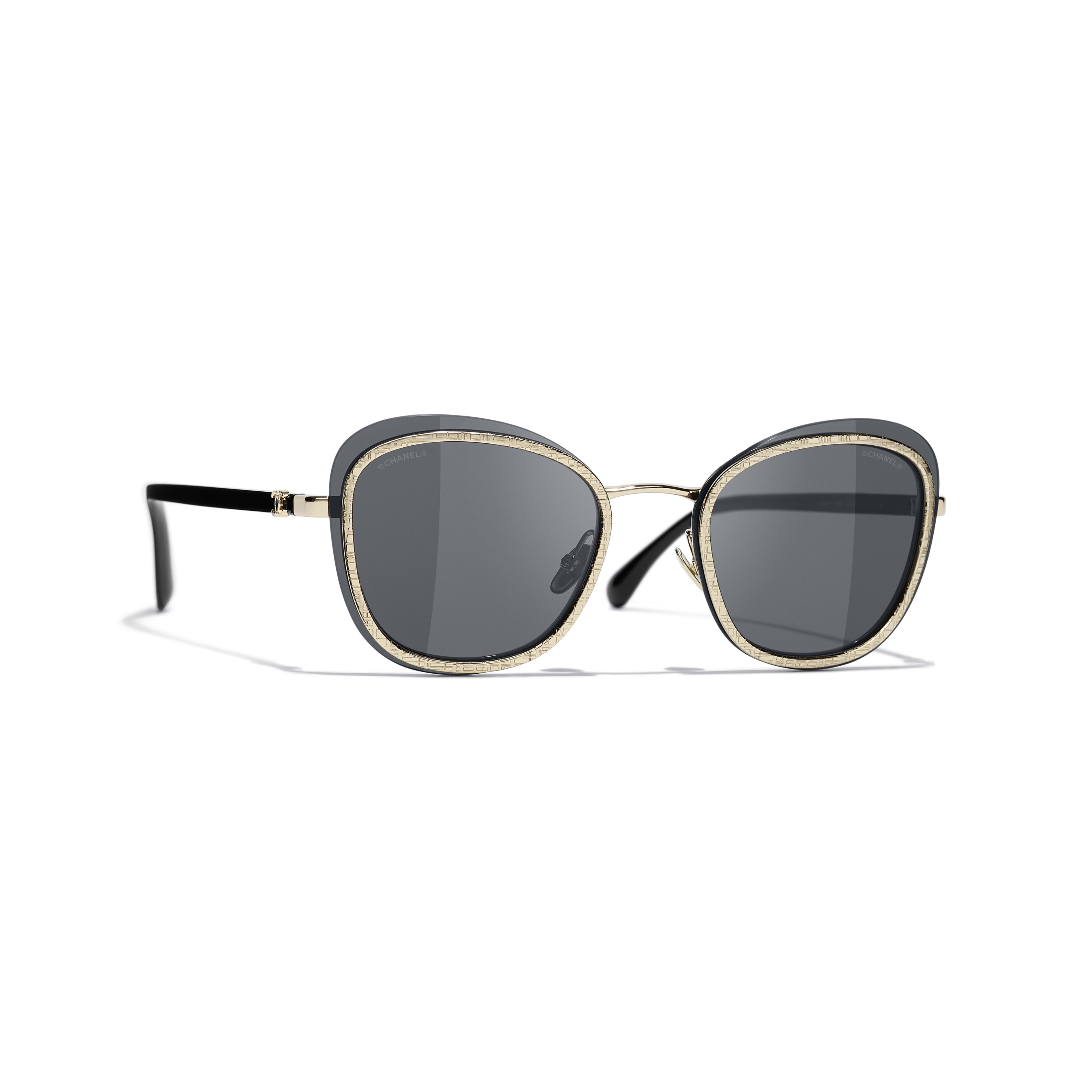 Pantos Sunglasses - Black & Gold - Acetate & Metal - CHANEL - Default view - see standard sized version