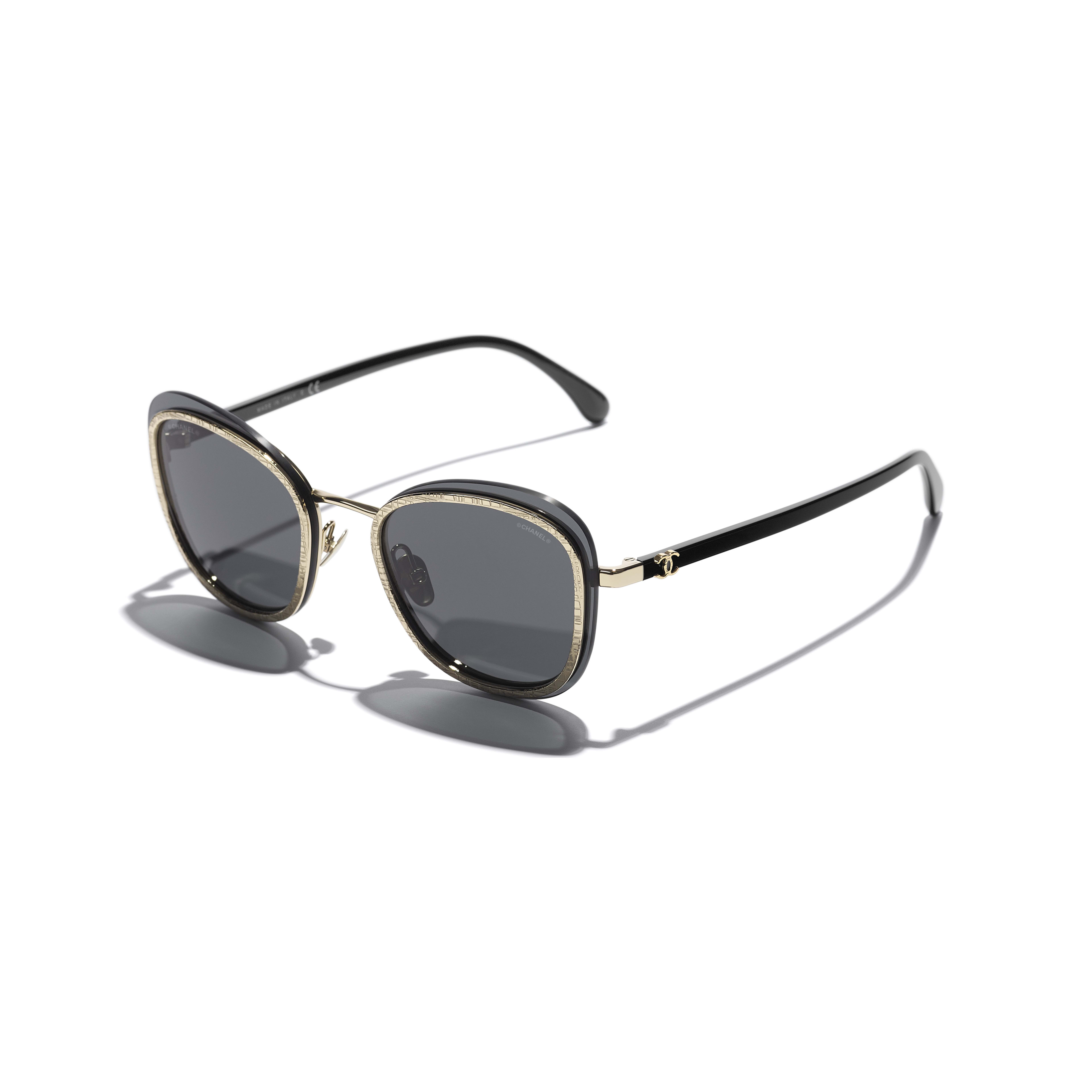Pantos Sunglasses - Black & Gold - Acetate & Metal - CHANEL - Extra view - see standard sized version