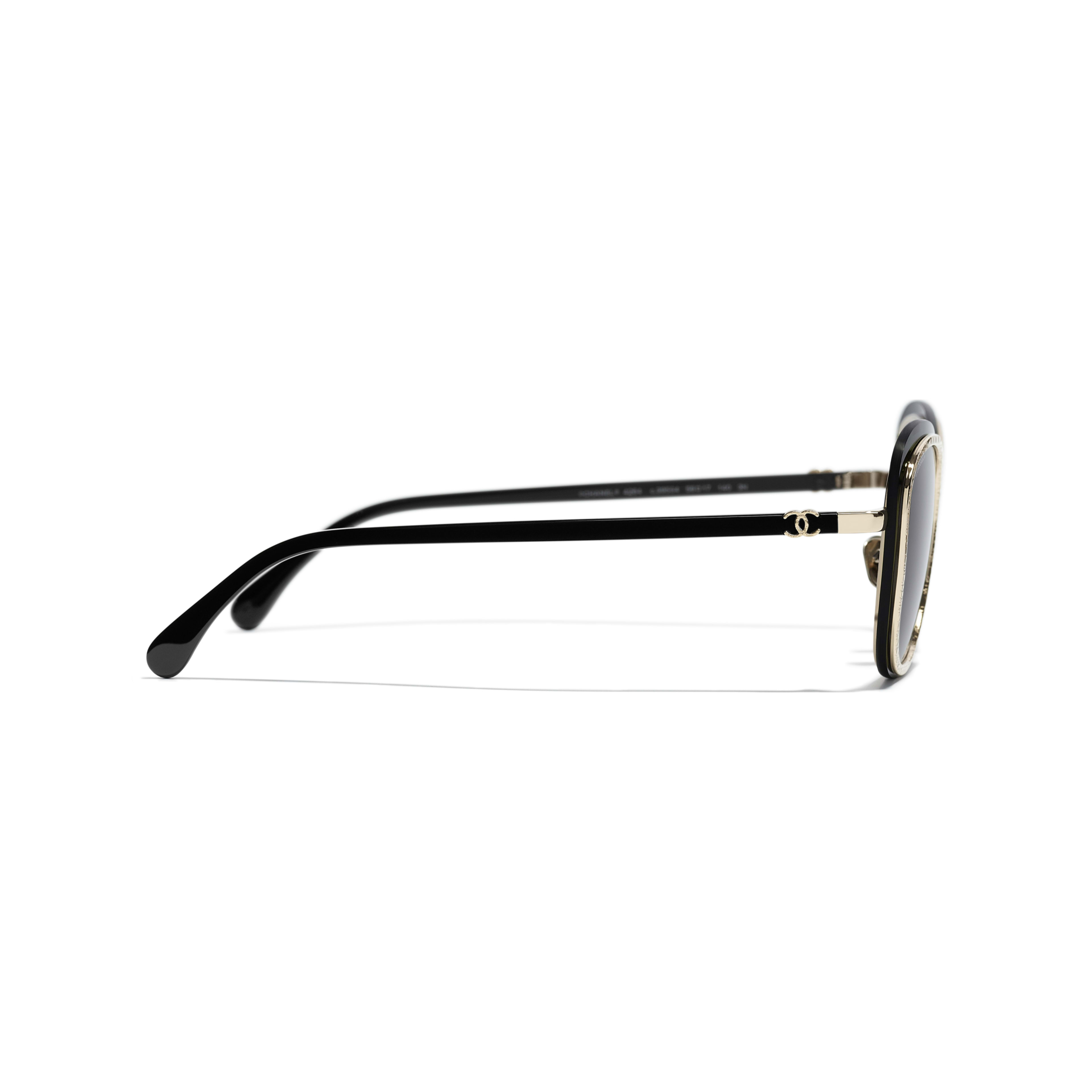 Pantos Sunglasses - Black & Gold - Acetate & Metal - CHANEL - Other view - see standard sized version