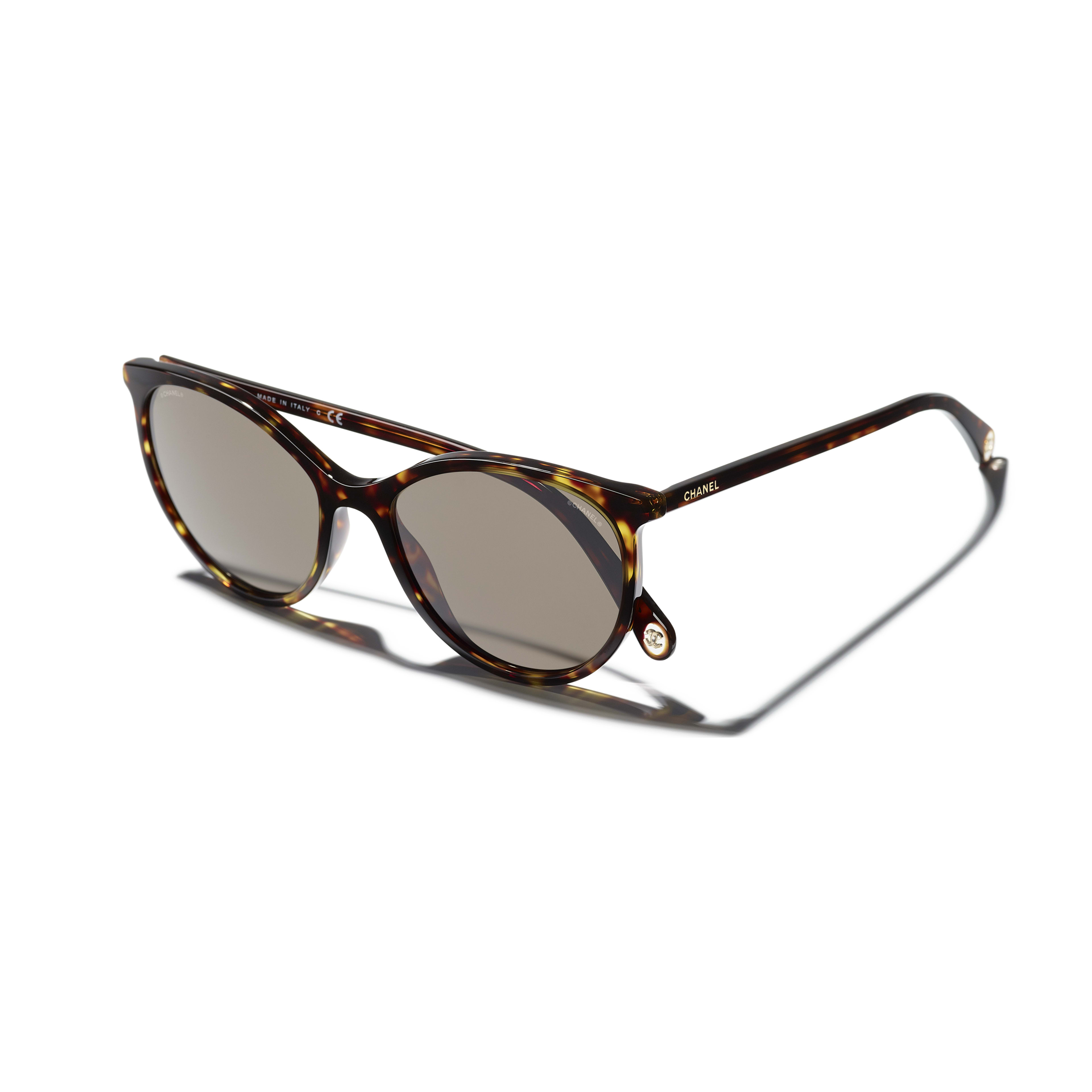 Pantos Sunglasses - Dark Tortoise - Acetate - CHANEL - Extra view - see standard sized version