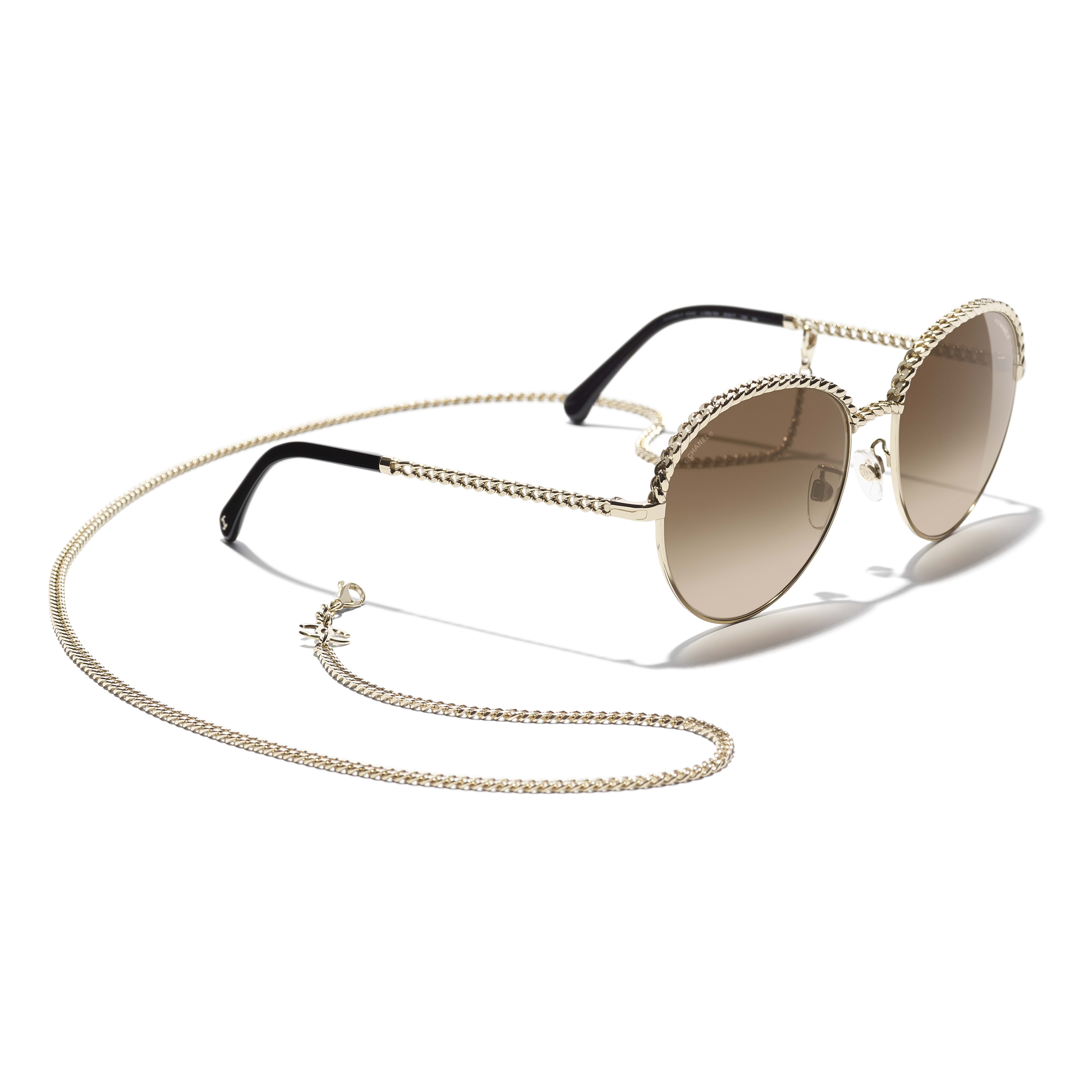 Pantos Sunglasses - Gold - Metal - CHANEL - Extra view - see standard sized version