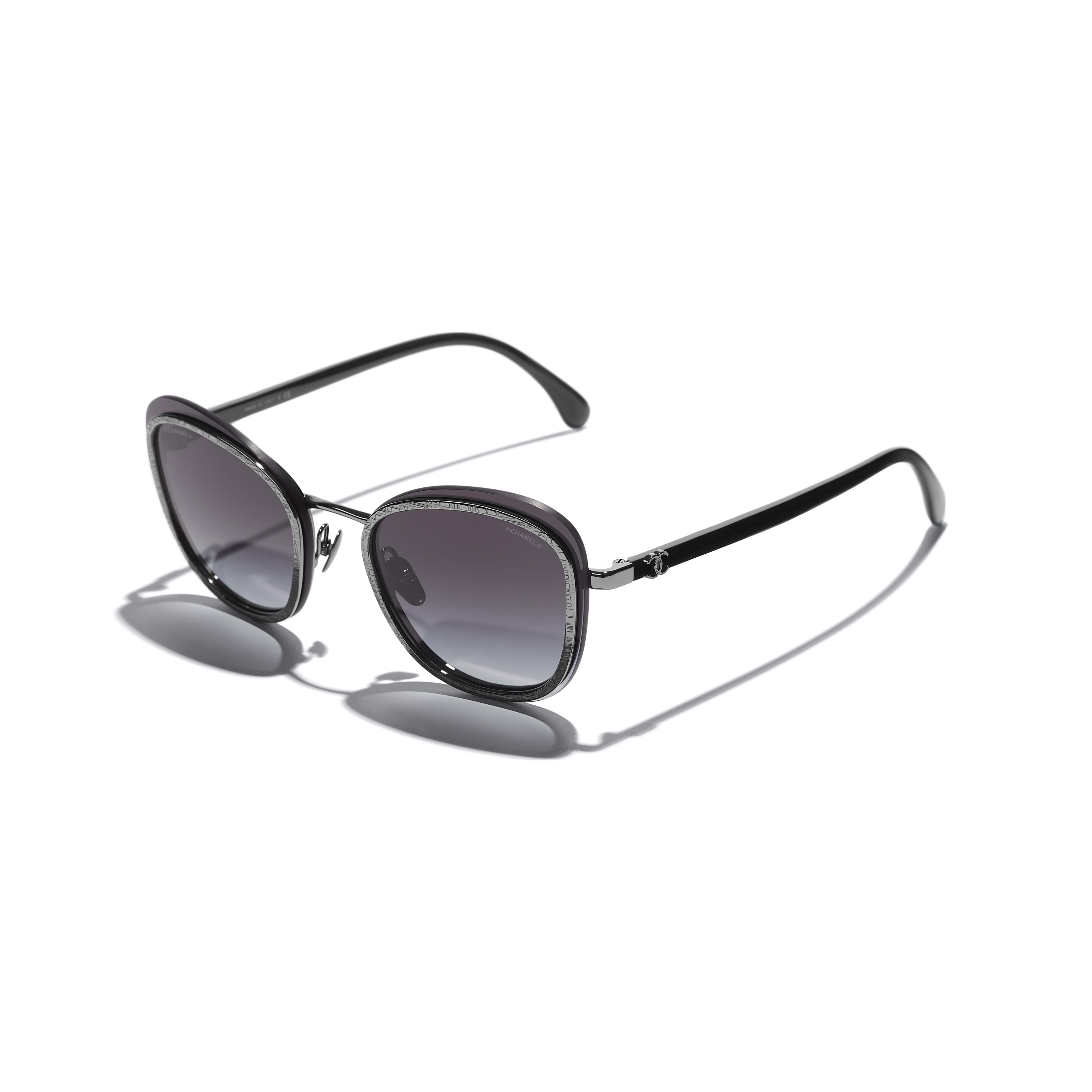 Pantos Sunglasses - Silver - Acetate & Metal - CHANEL - Extra view - see standard sized version