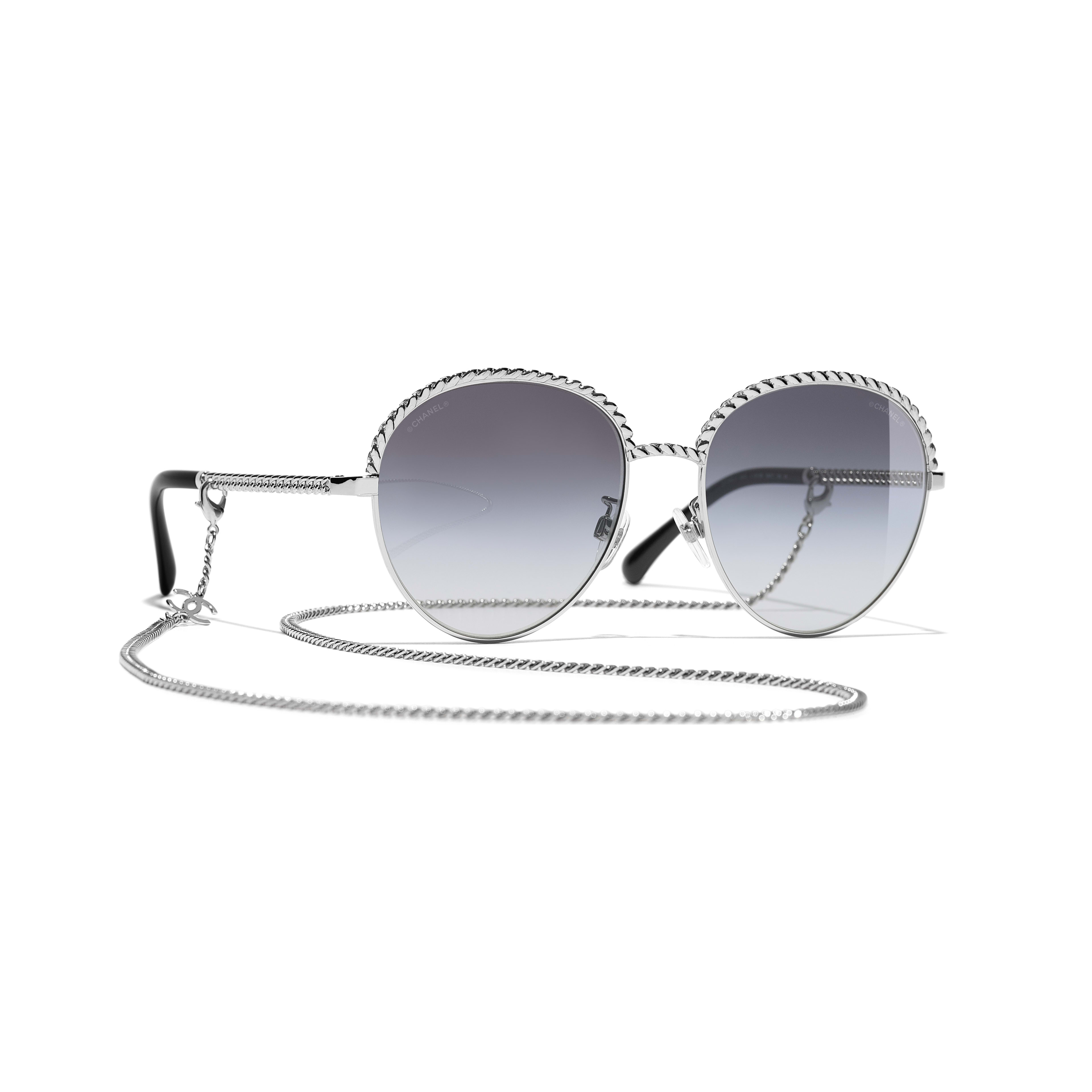 Pantos Sunglasses - Silver - Metal - CHANEL - Default view - see standard sized version