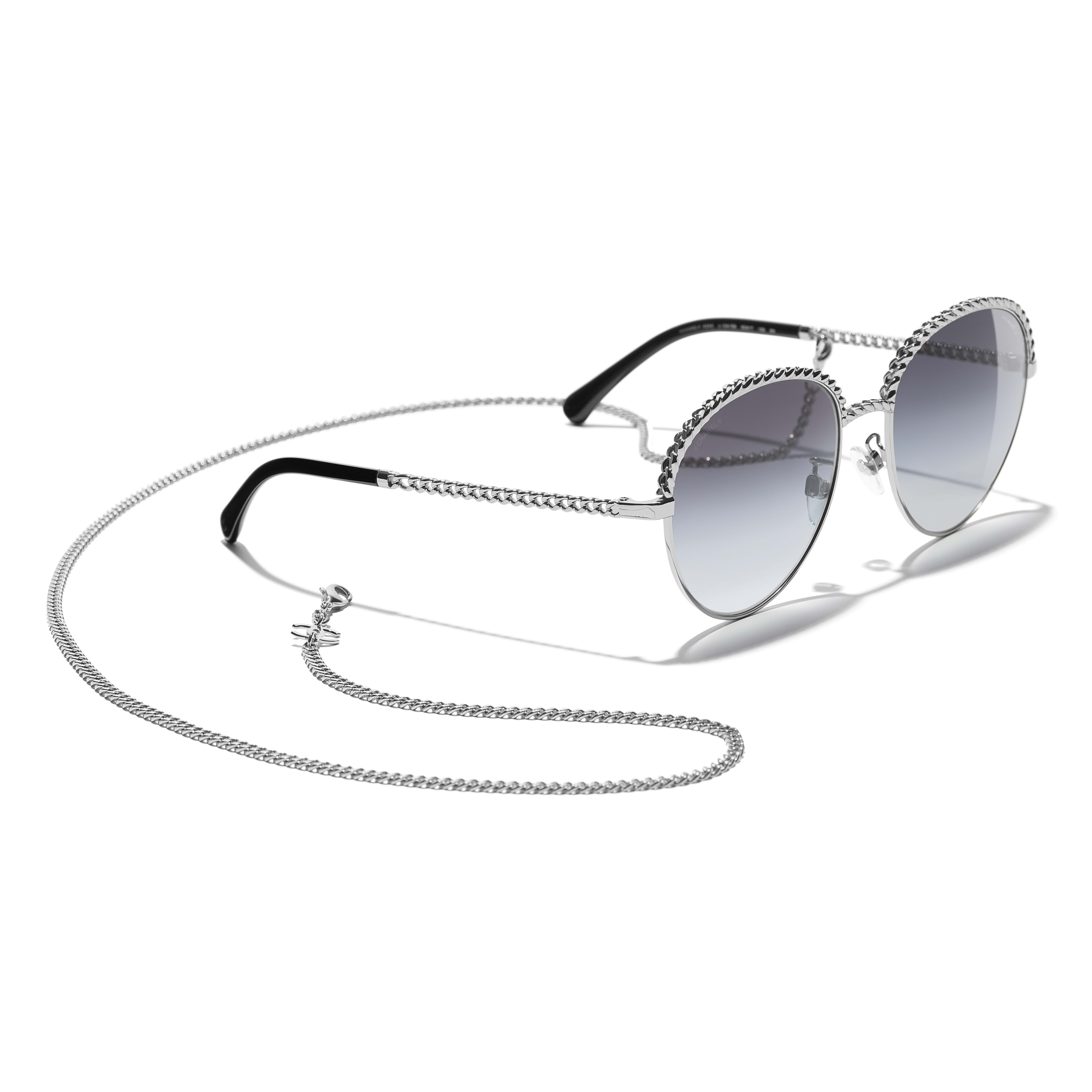 Pantos Sunglasses - Silver - Metal - CHANEL - Extra view - see standard sized version