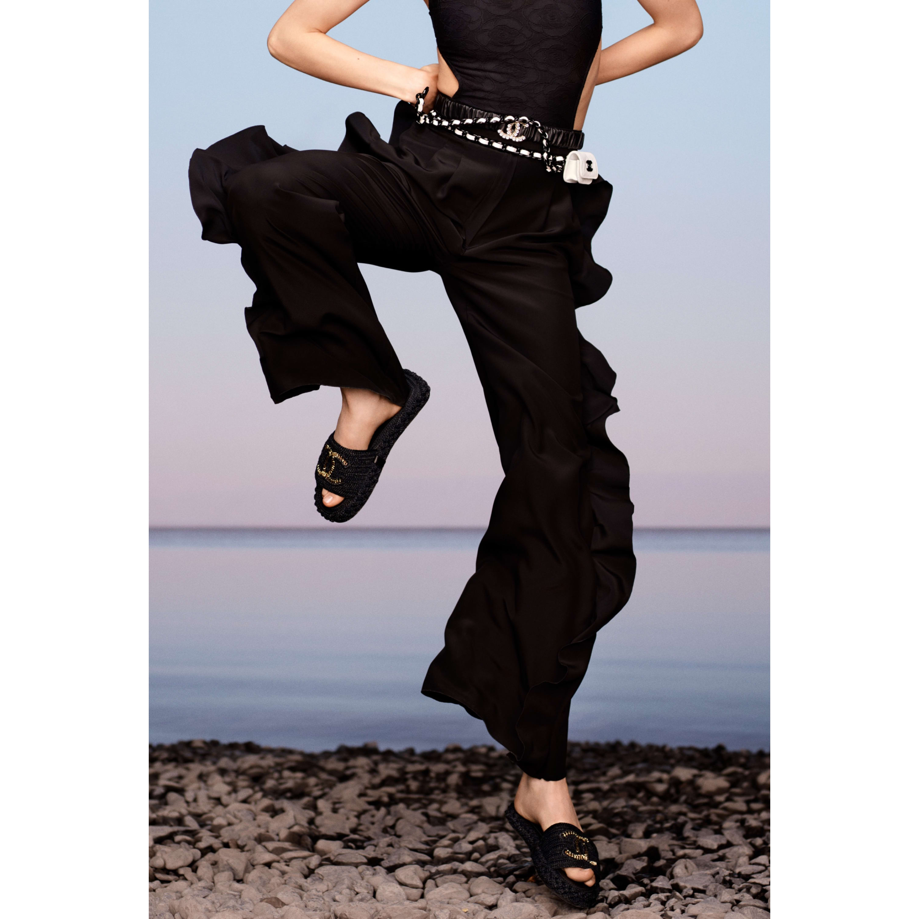 Trousers - Black - Crepe De Chine - CHANEL - Alternative view - see standard sized version