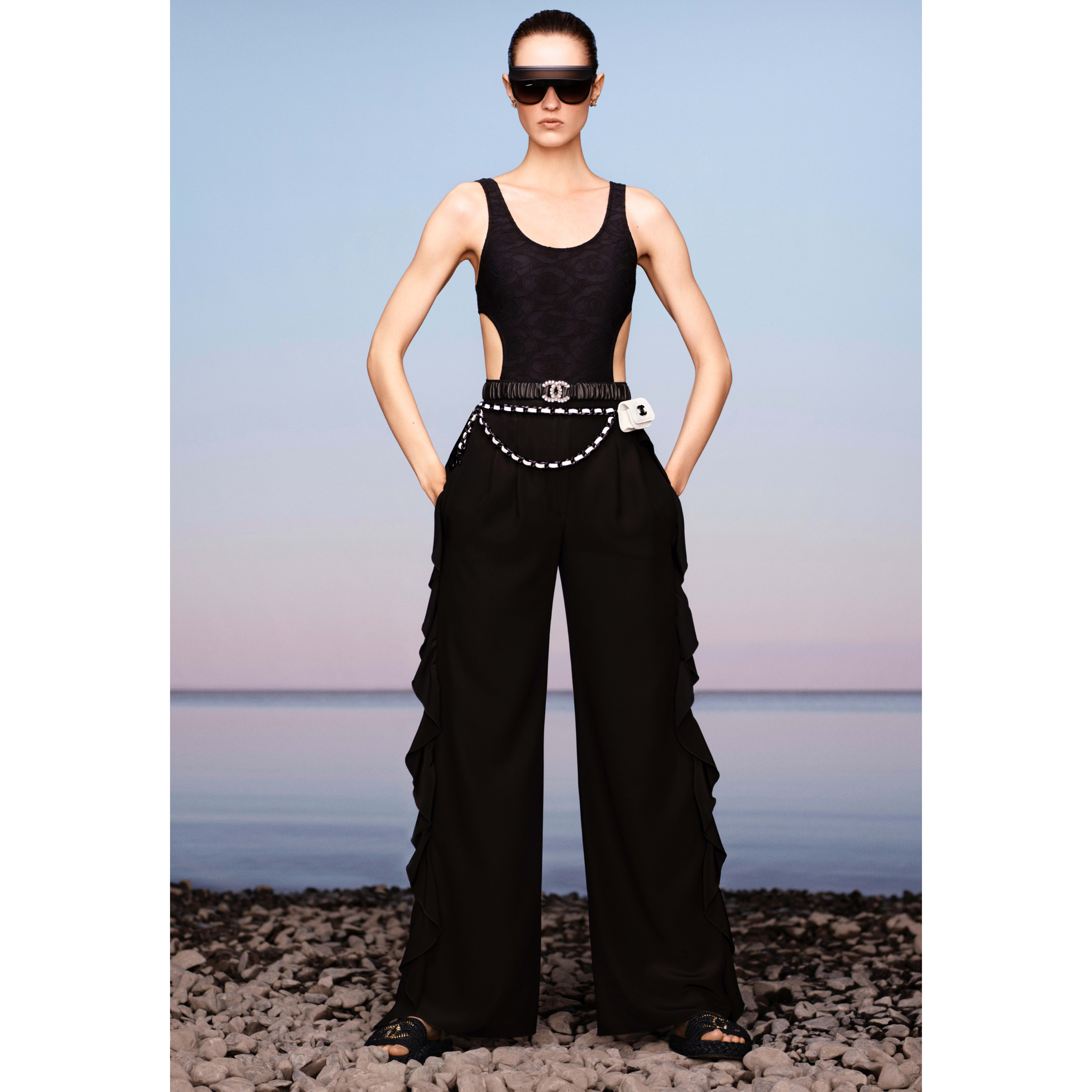 Trousers - Black - Crepe De Chine - CHANEL - Default view - see standard sized version