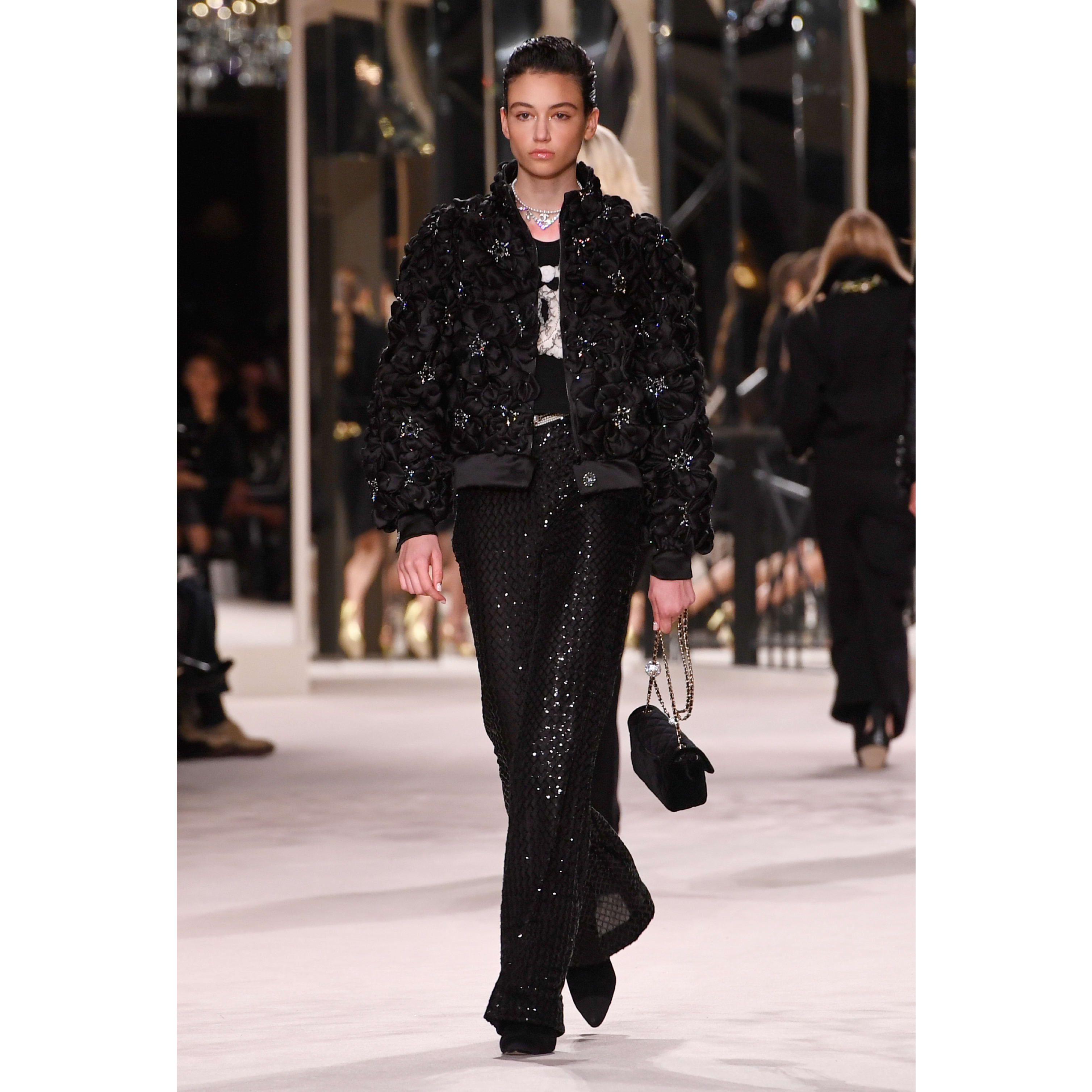 Trousers - Black - Glittered Tulle - CHANEL - Default view - see standard sized version