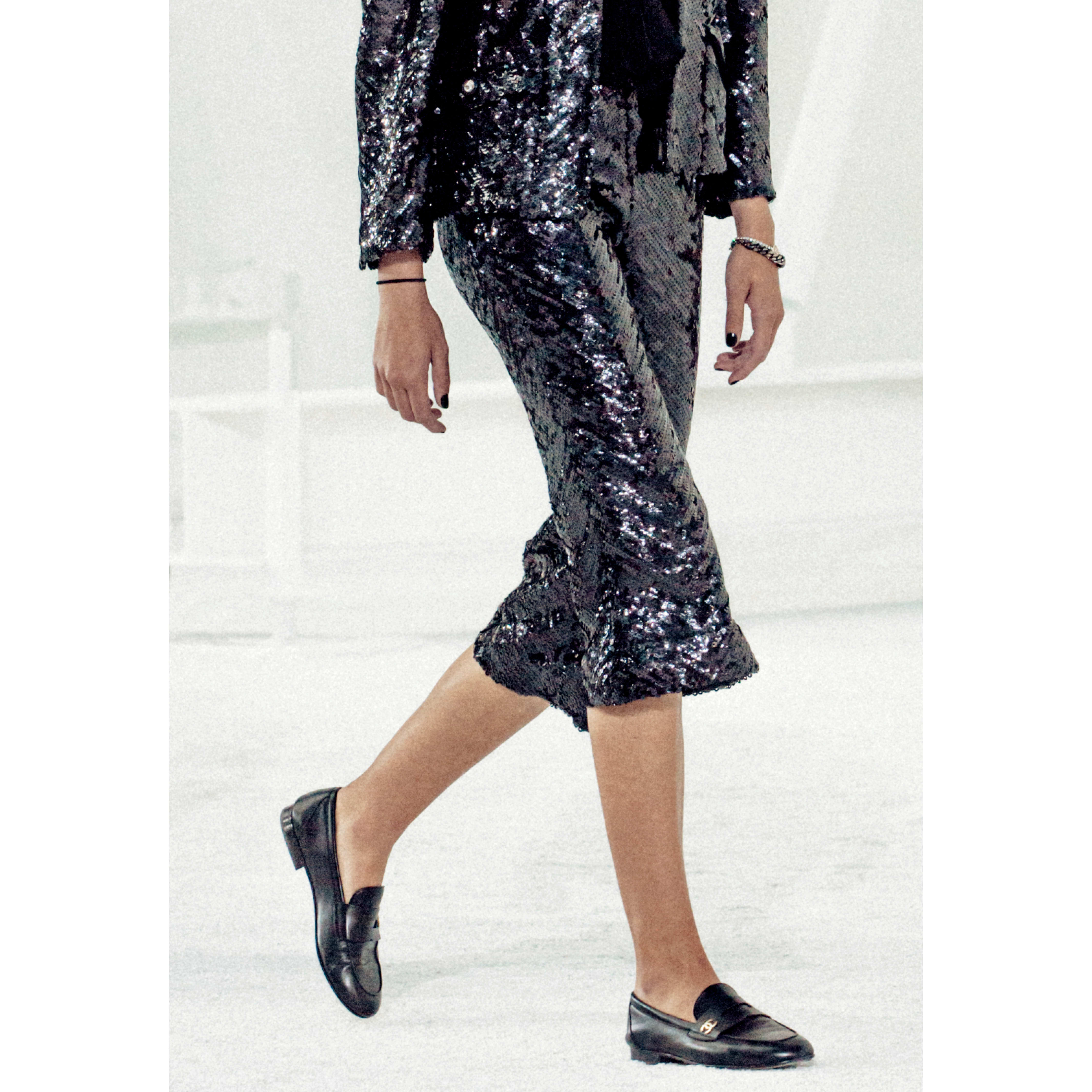 Trousers - Black - Sequin Embroidered Silk Muslin - CHANEL - Alternative view - see standard sized version