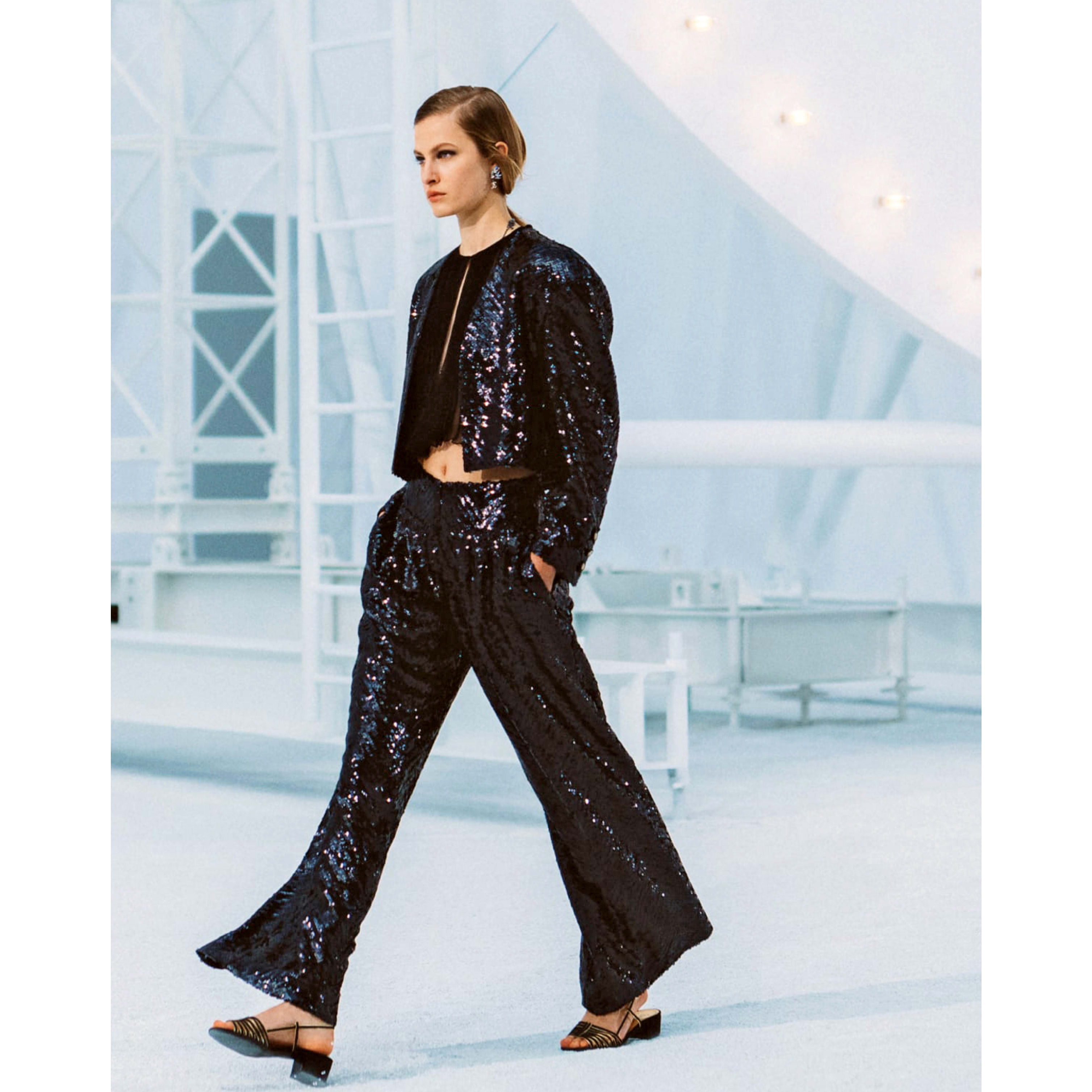 Trousers - Black - Sequin Embroidered Silk Muslin - CHANEL - Default view - see standard sized version