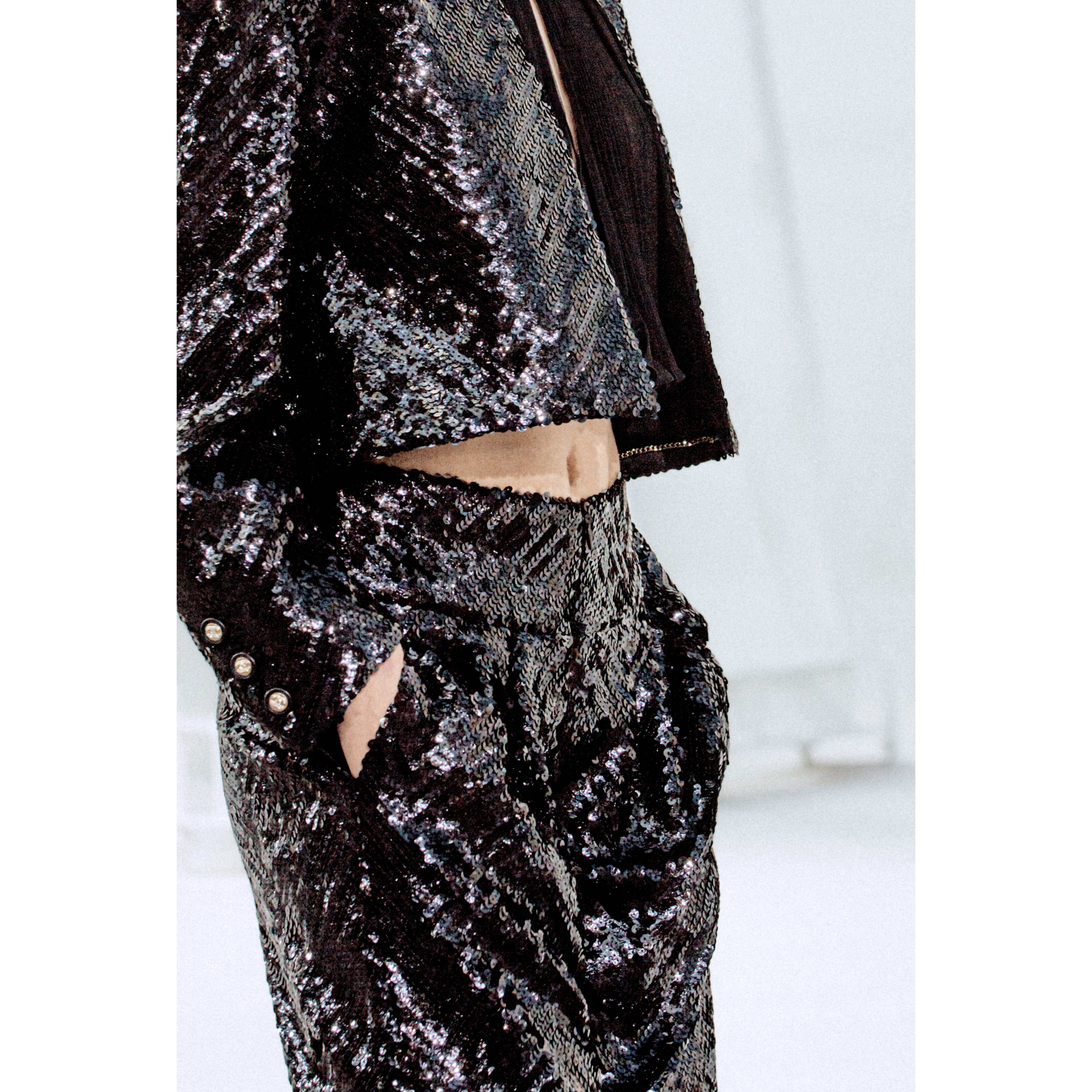 Trousers - Black - Sequin Embroidered Silk Muslin - CHANEL - Other view - see standard sized version
