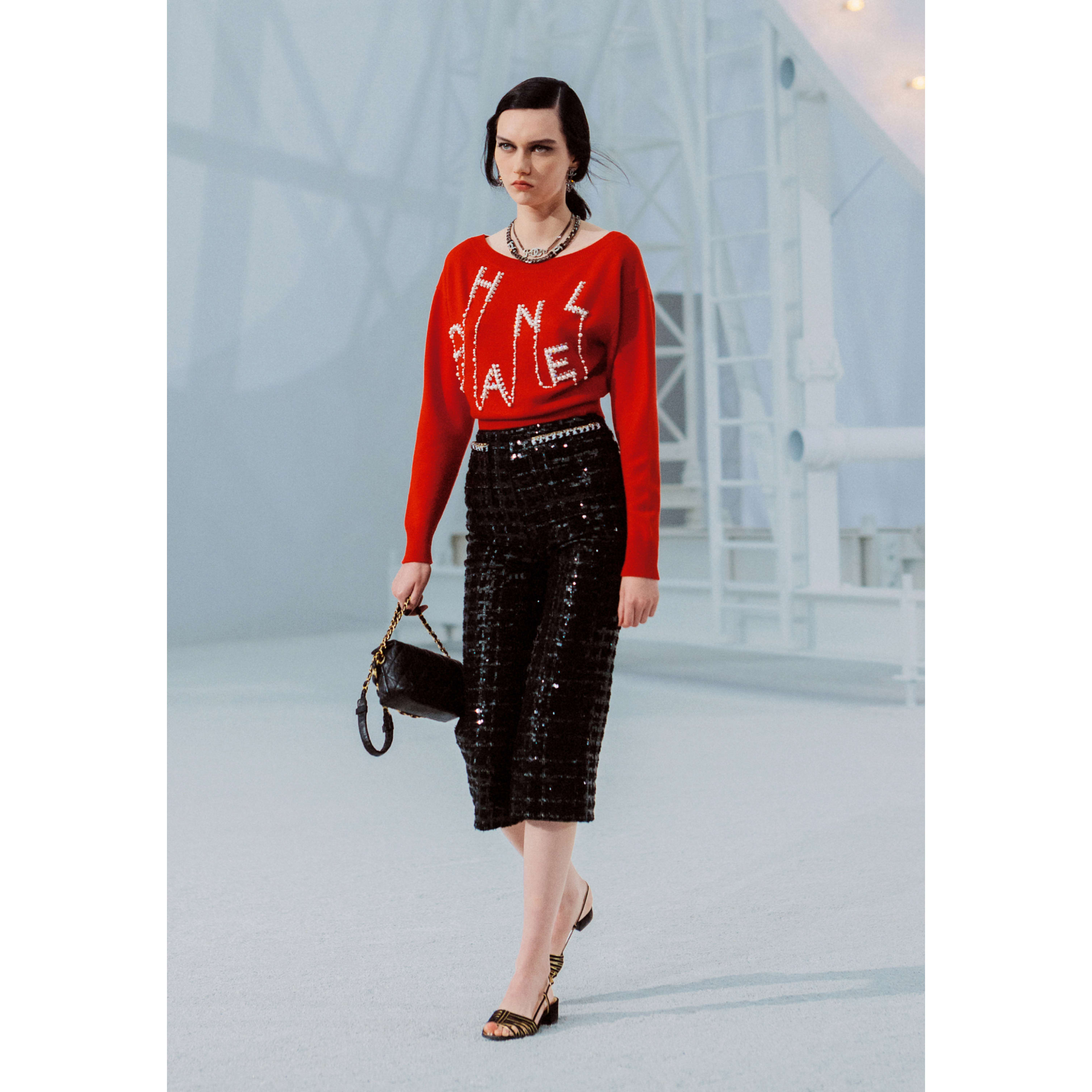 Trousers - Black & White - Glittered Tweed - CHANEL - Default view - see standard sized version