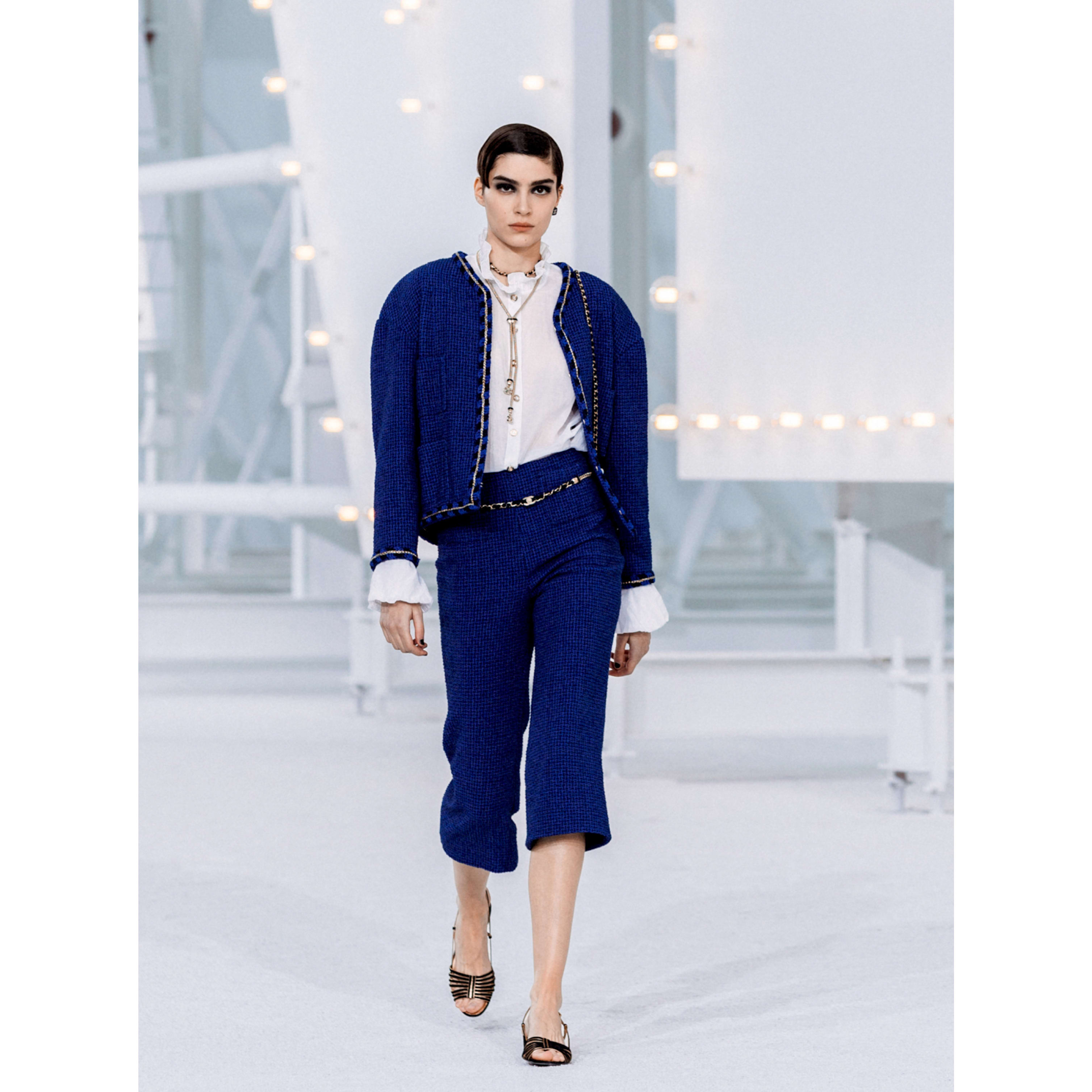 Trousers - Blue & Navy Blue - Cotton Tweed - CHANEL - Default view - see standard sized version
