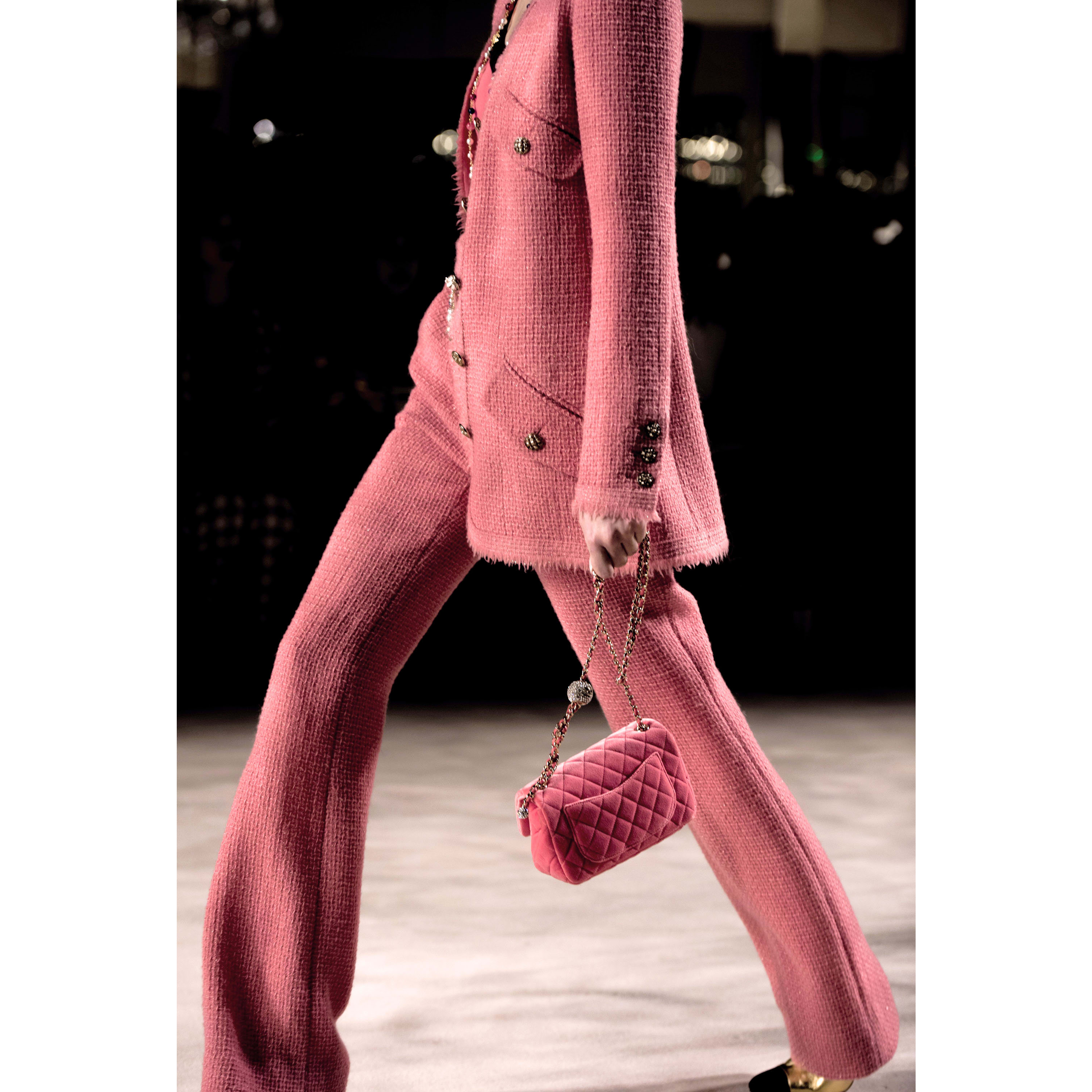 Trousers - Pink - Iridescent Wool Tweed - CHANEL - Alternative view - see standard sized version