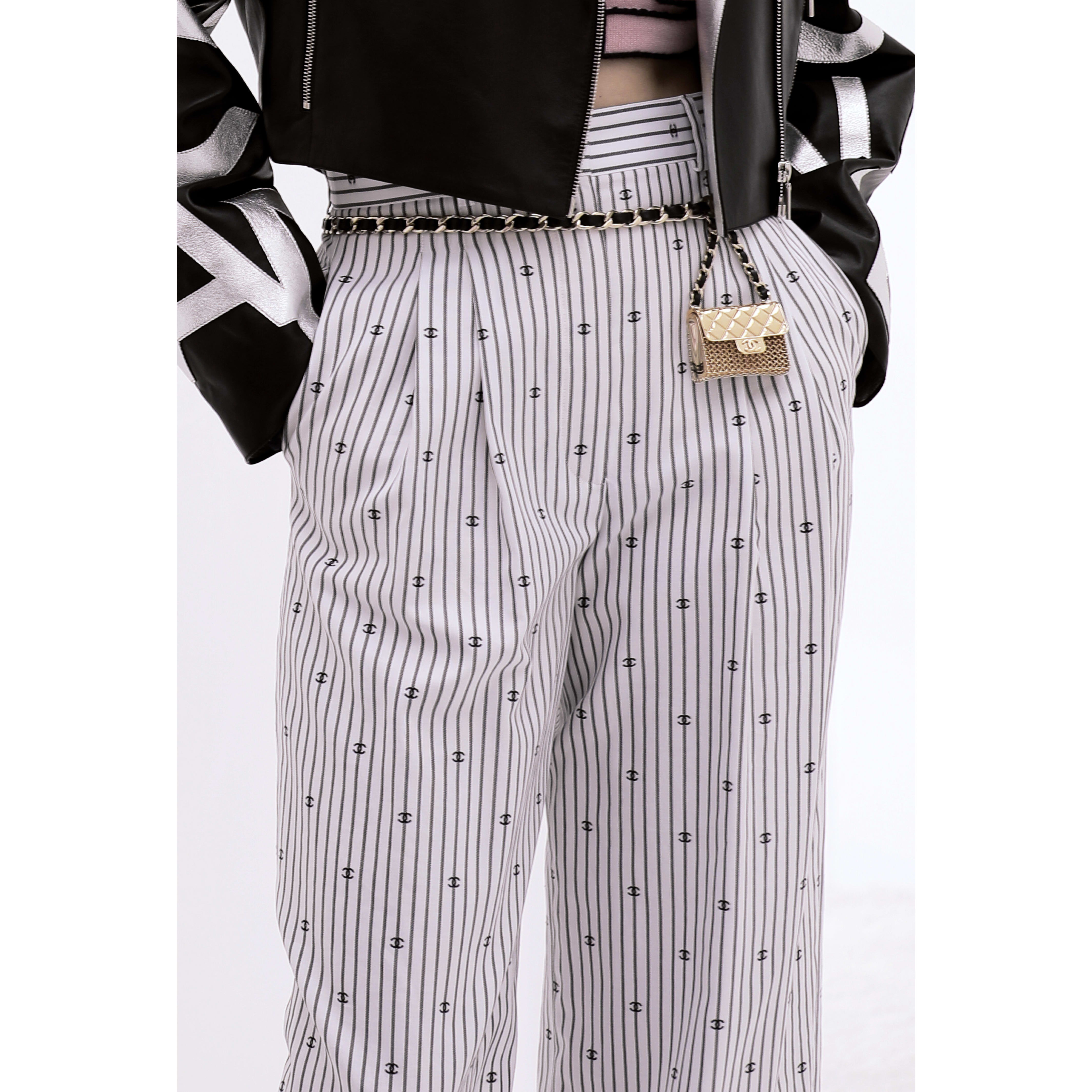 Trousers - White & Black - Cotton - CHANEL - Alternative view - see standard sized version