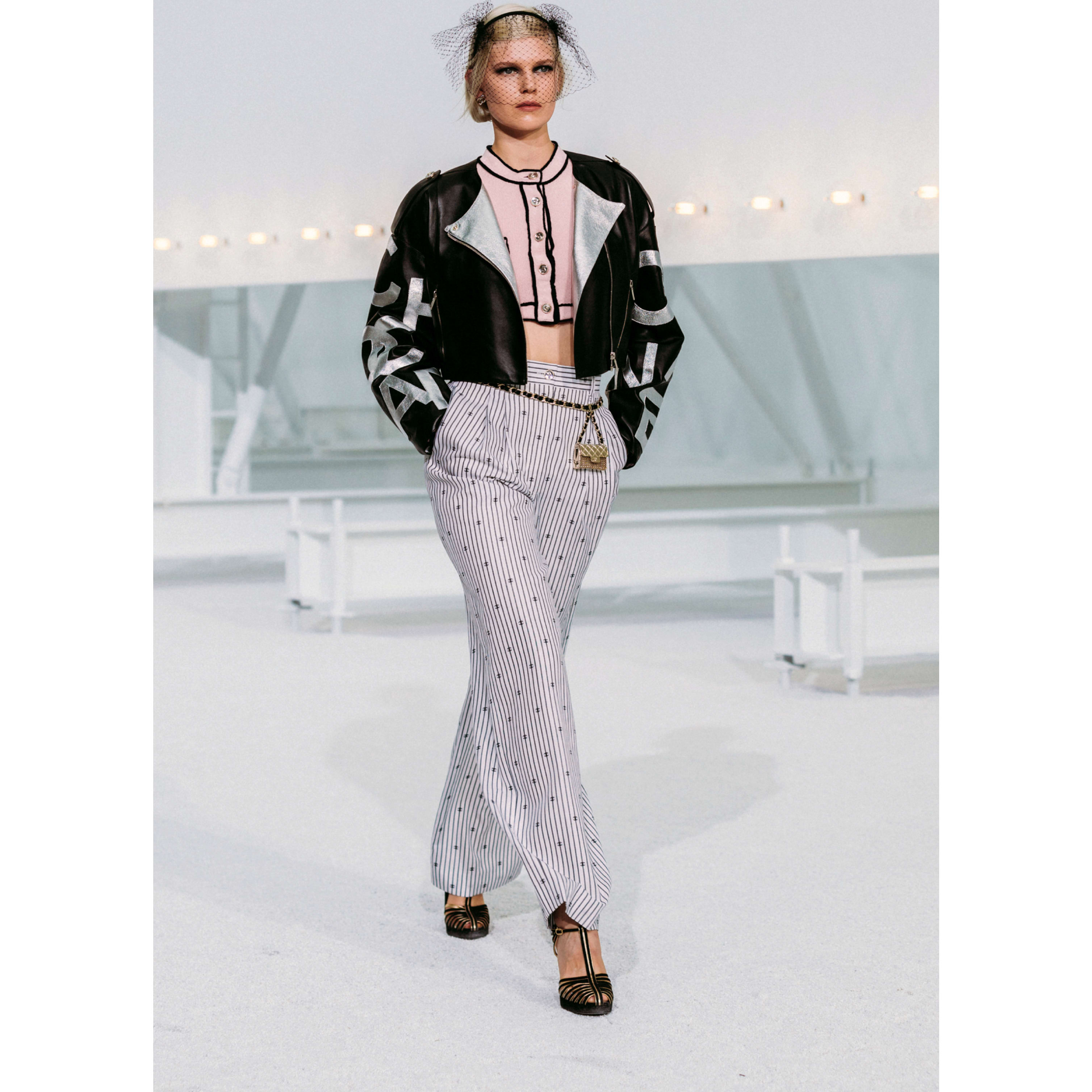 Trousers - White & Black - Cotton - CHANEL - Default view - see standard sized version