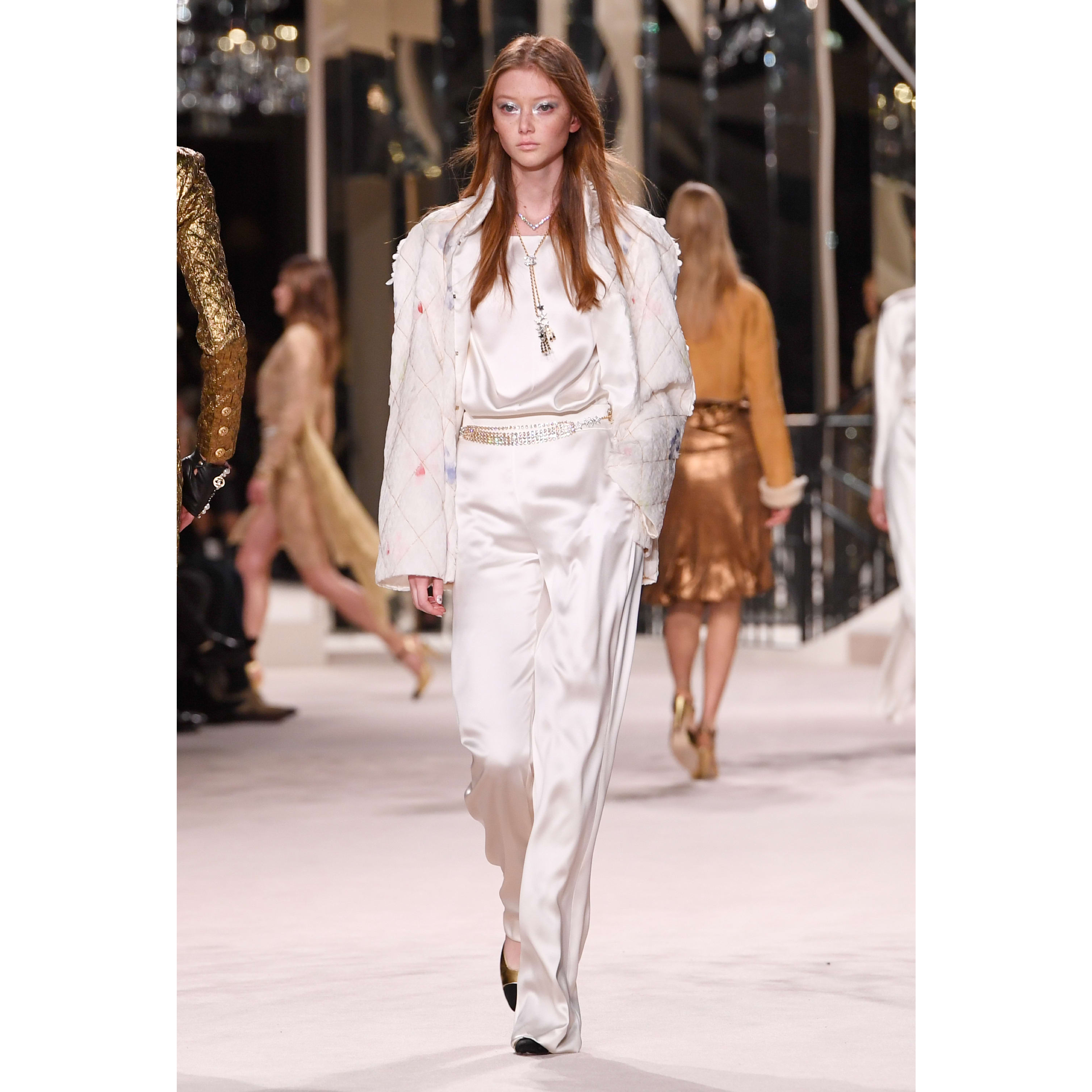 Trousers - White - Satin Crepe - CHANEL - Default view - see standard sized version