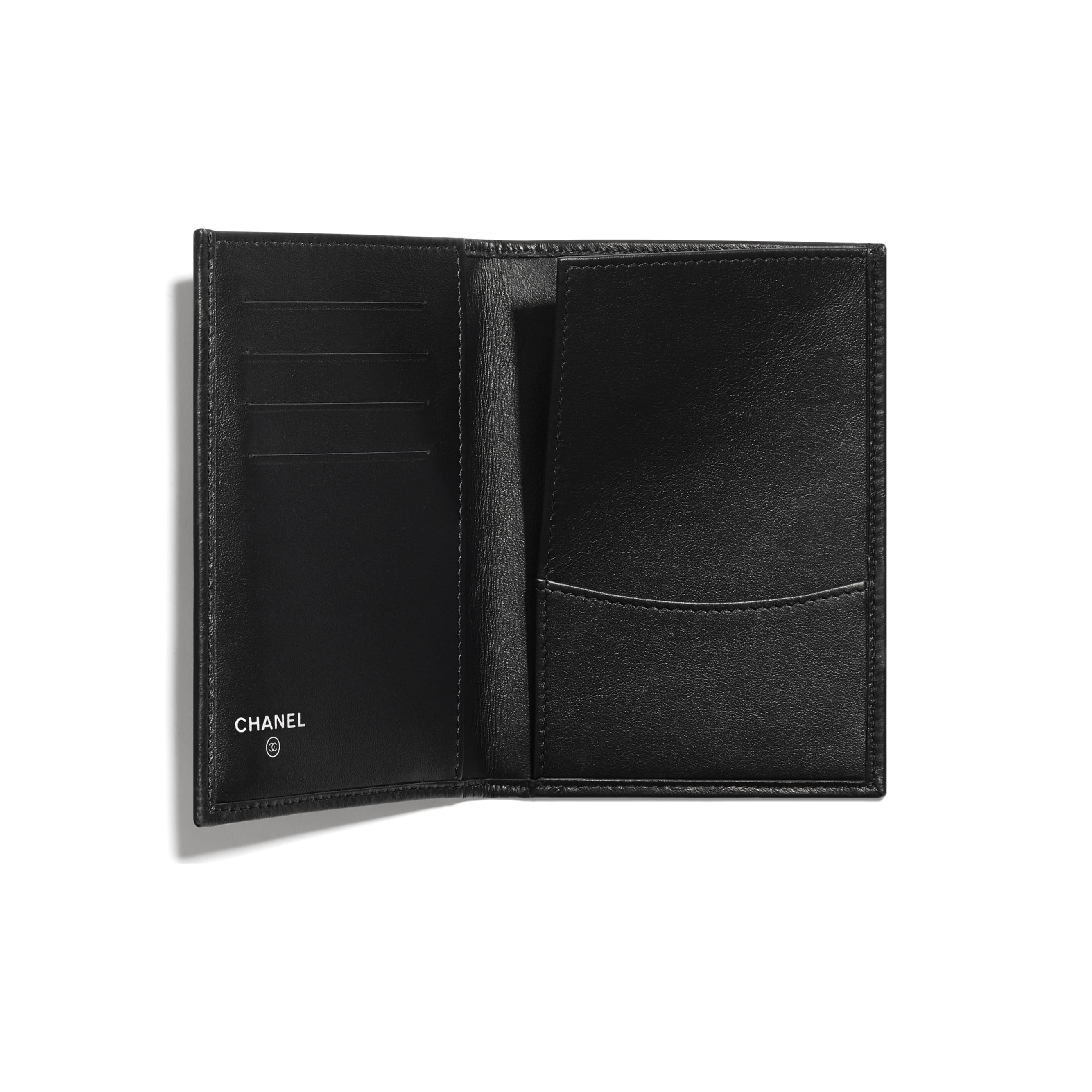 Passport Holder - Black - Calfskin & Ruthenium-Finish Metal - CHANEL - Other view - see standard sized version