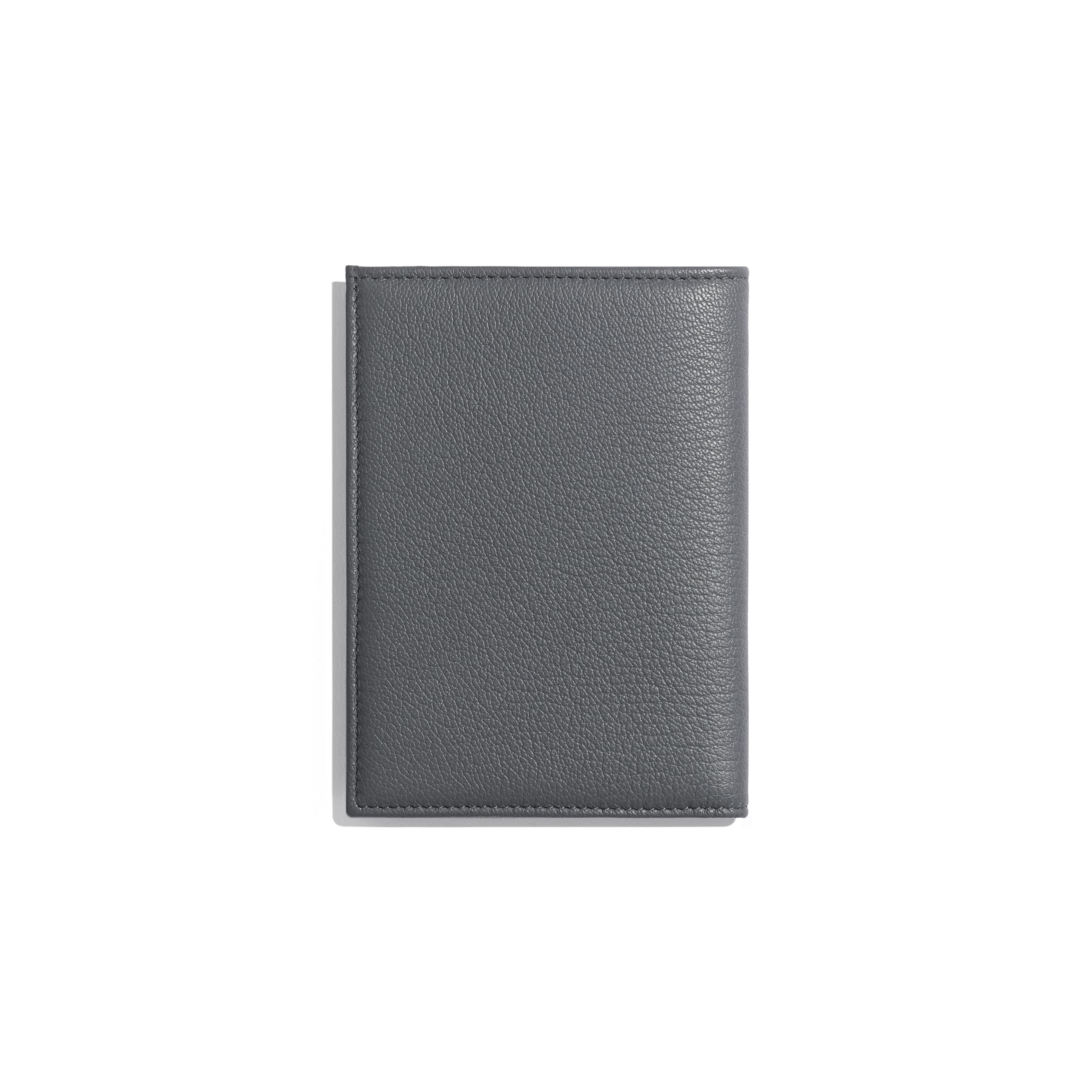 Passport Holder - Grey - Goatskin & Lacquered Silver-Tone Metal - Alternative view - see standard sized version