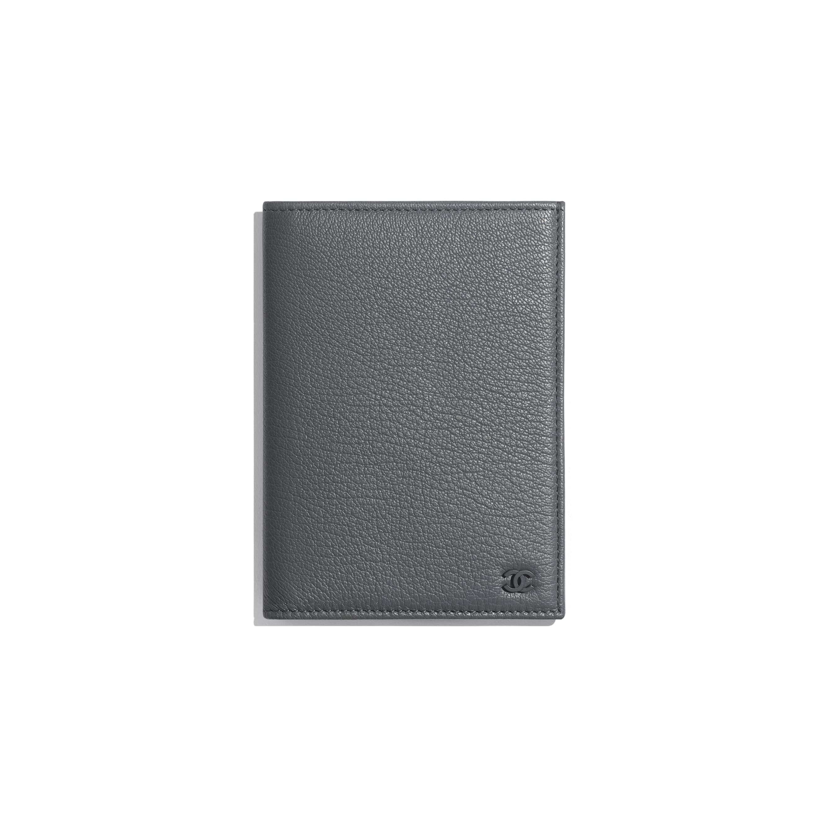 Passport Holder - Grey - Goatskin & Lacquered Silver-Tone Metal - Default view - see standard sized version