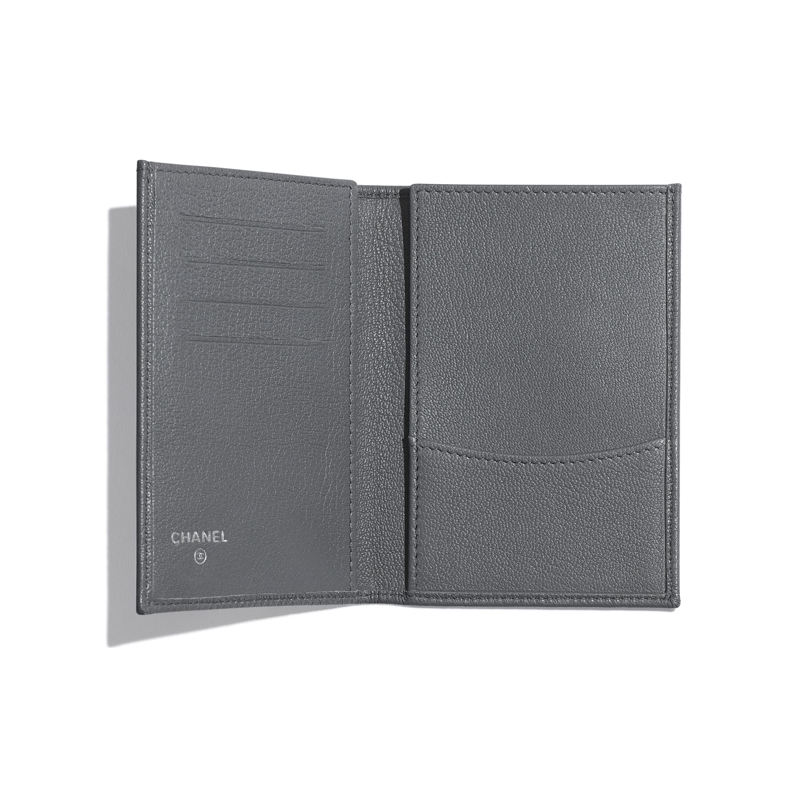 Passport Holder - Grey - Goatskin & Lacquered Silver-Tone Metal - Other view - see standard sized version